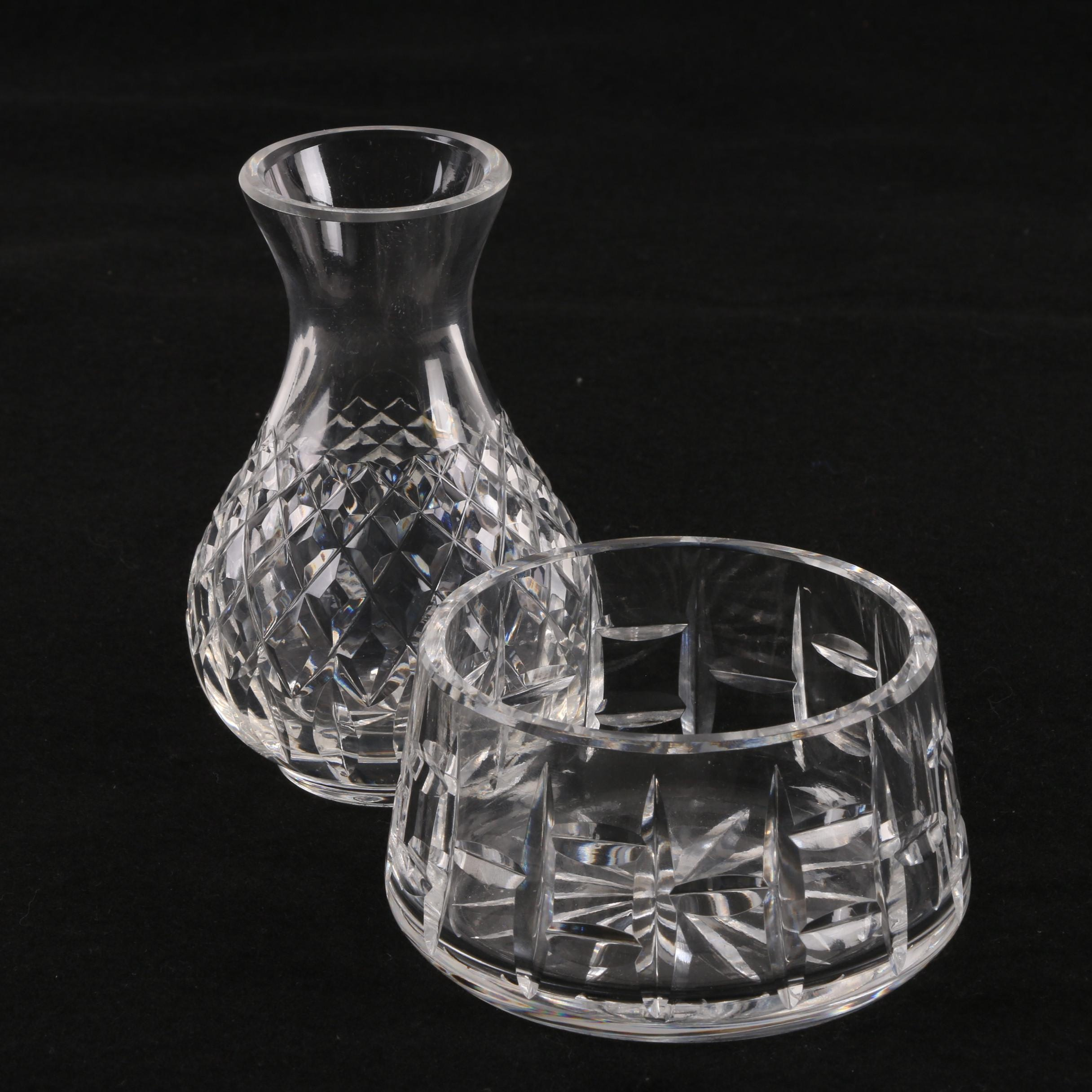 Waterford Crystal Open Sugar Bowl and Bud Vase