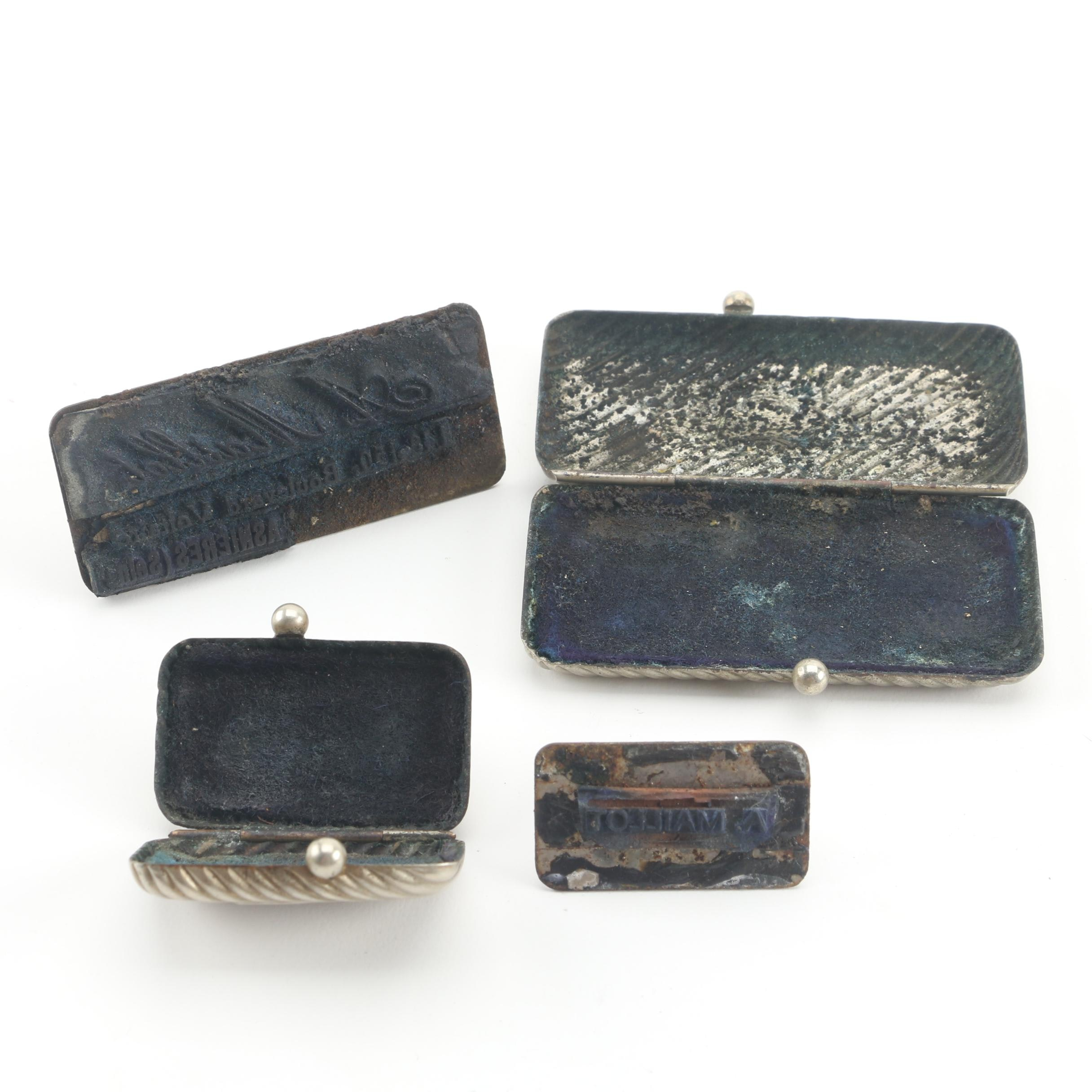 Antique French Signature Stamps with Silver-Toned Metal Cases