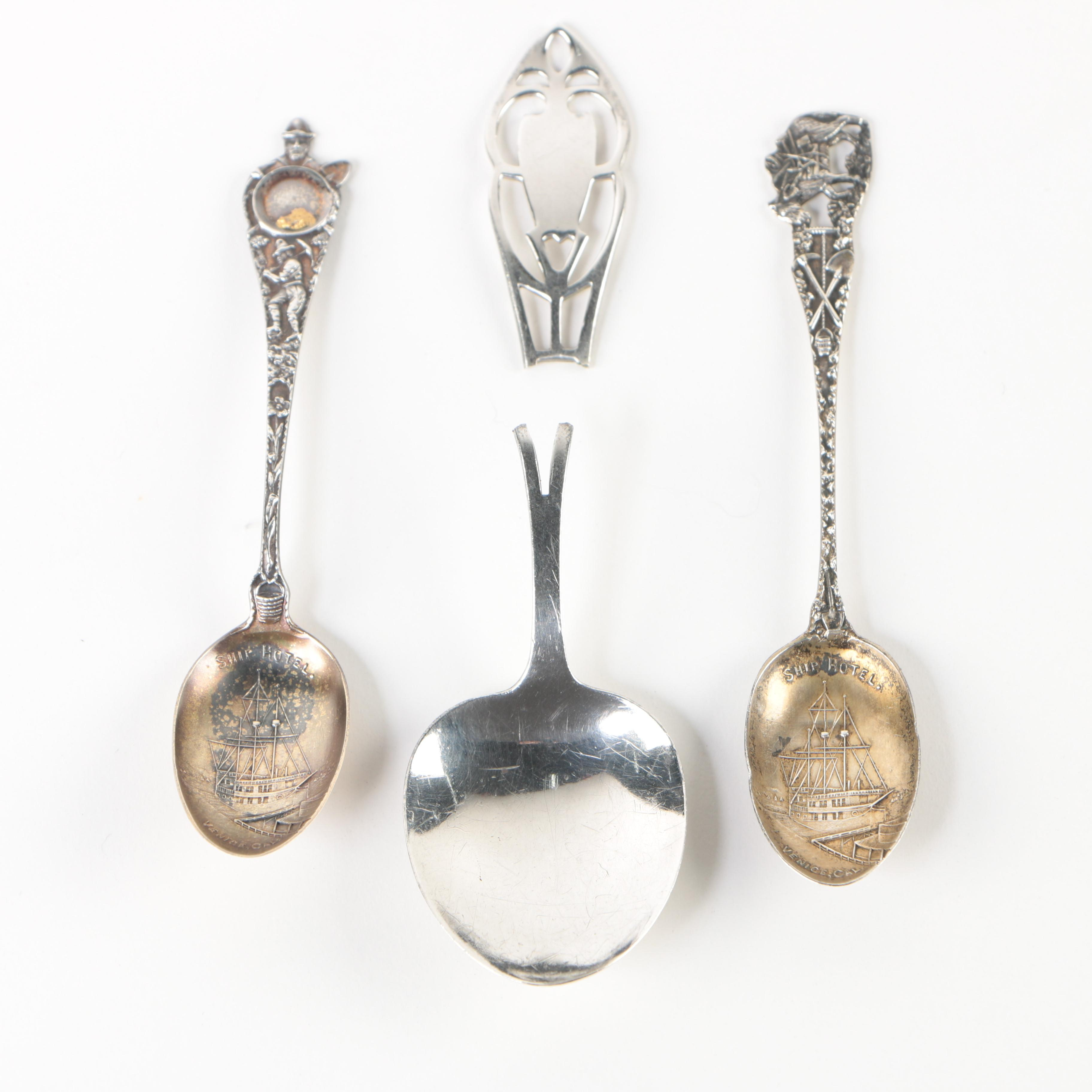Weidlich Sterling Demitasse Spoon with Sterling California Souvenir Spoons