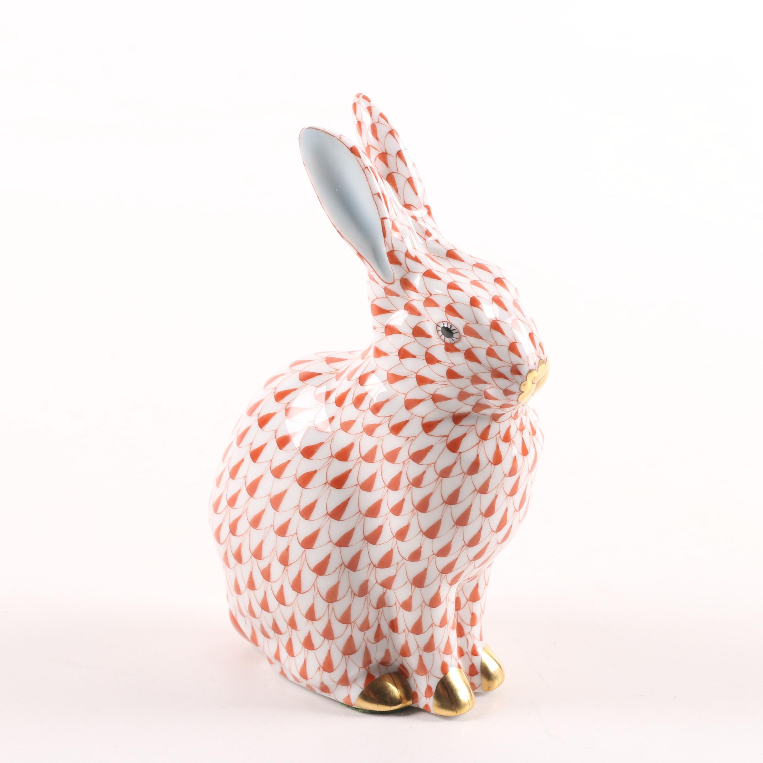 """Herend Hungary """"Sitting Bunny"""" Hand-Painted Porcelain Figurine"""