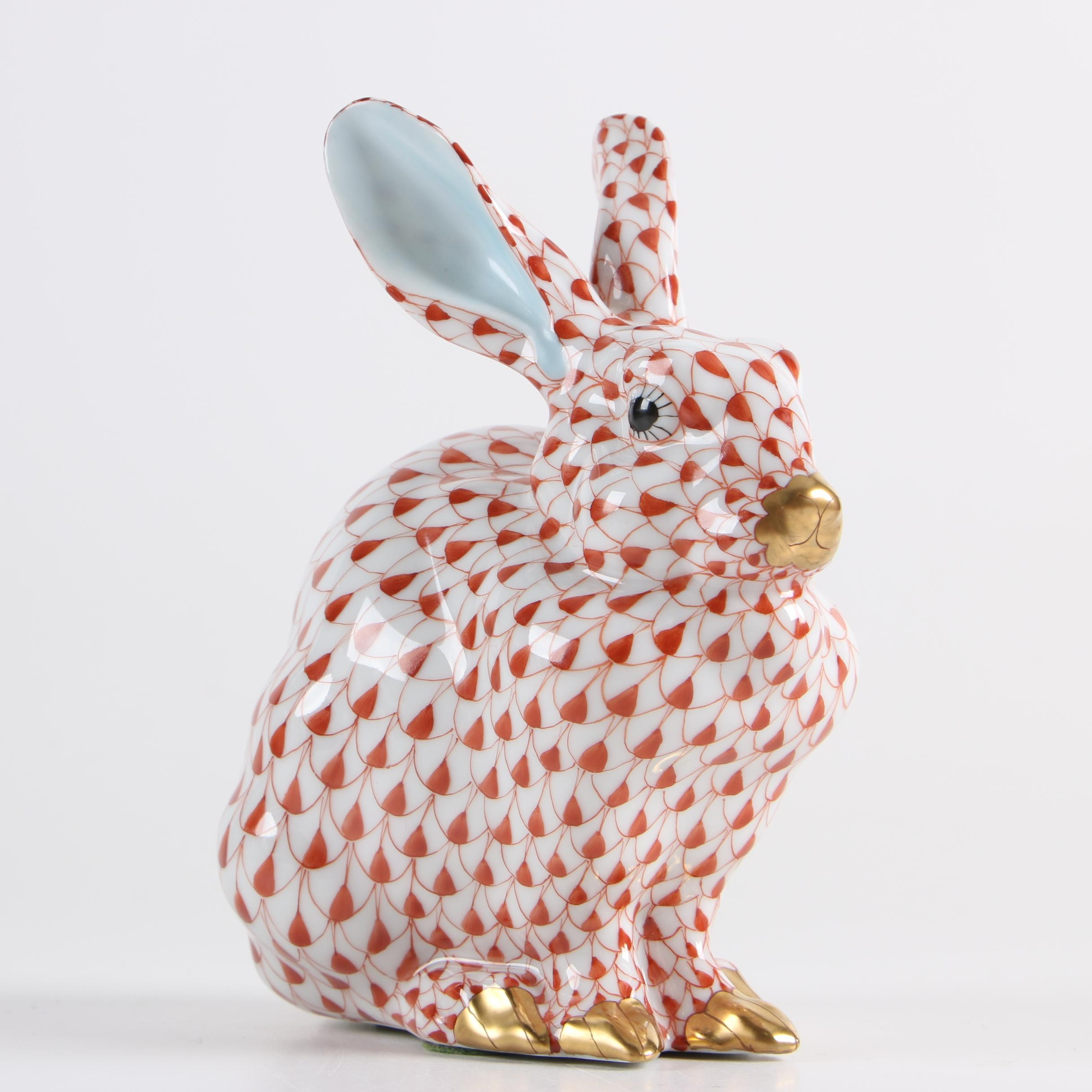 """Herend Porcelain """"Sitting Bunny"""" Hand-Painted Figurine"""