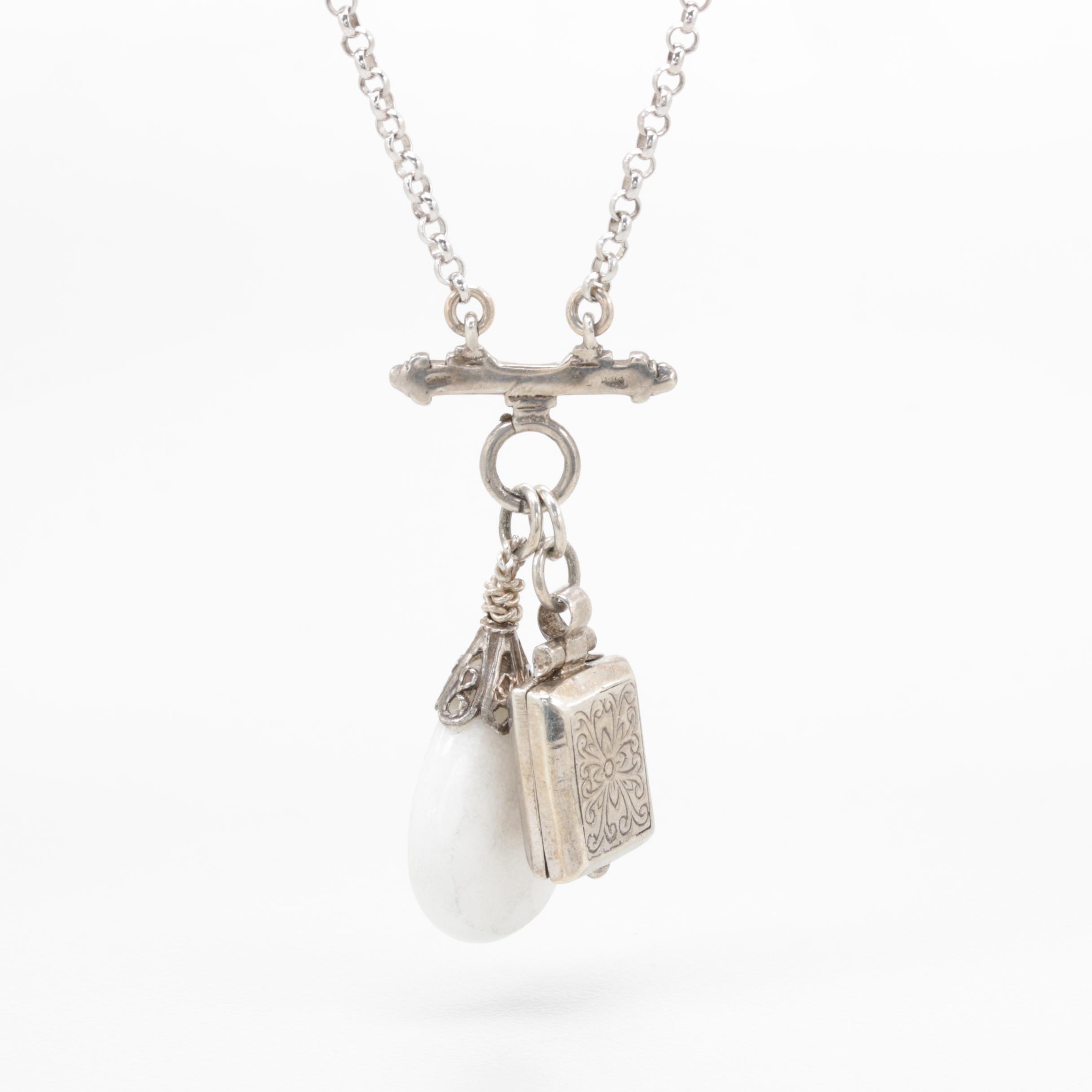 Sterling Silver Quartzite Locket Pendant Necklace