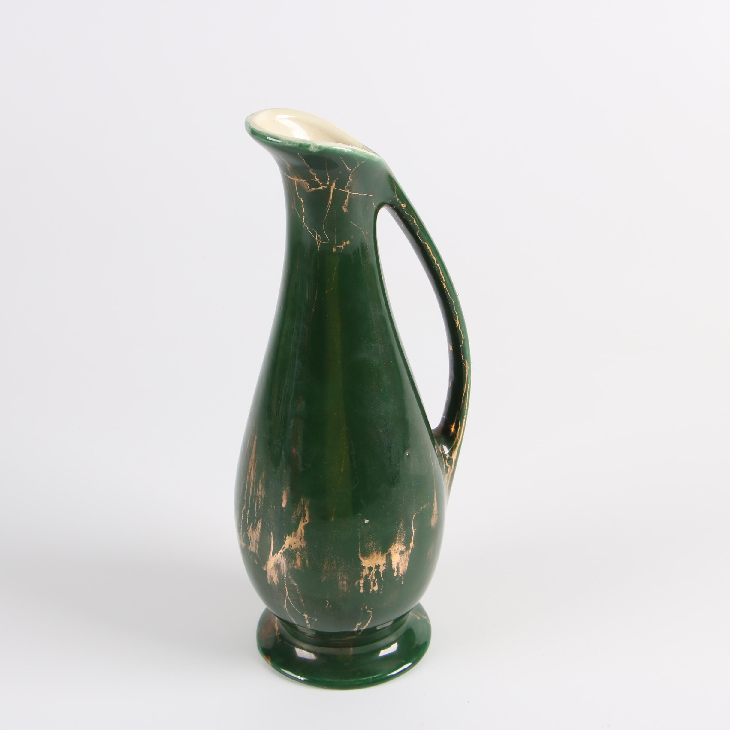 Mid-Century Green and Gilded Earthenware Ewer
