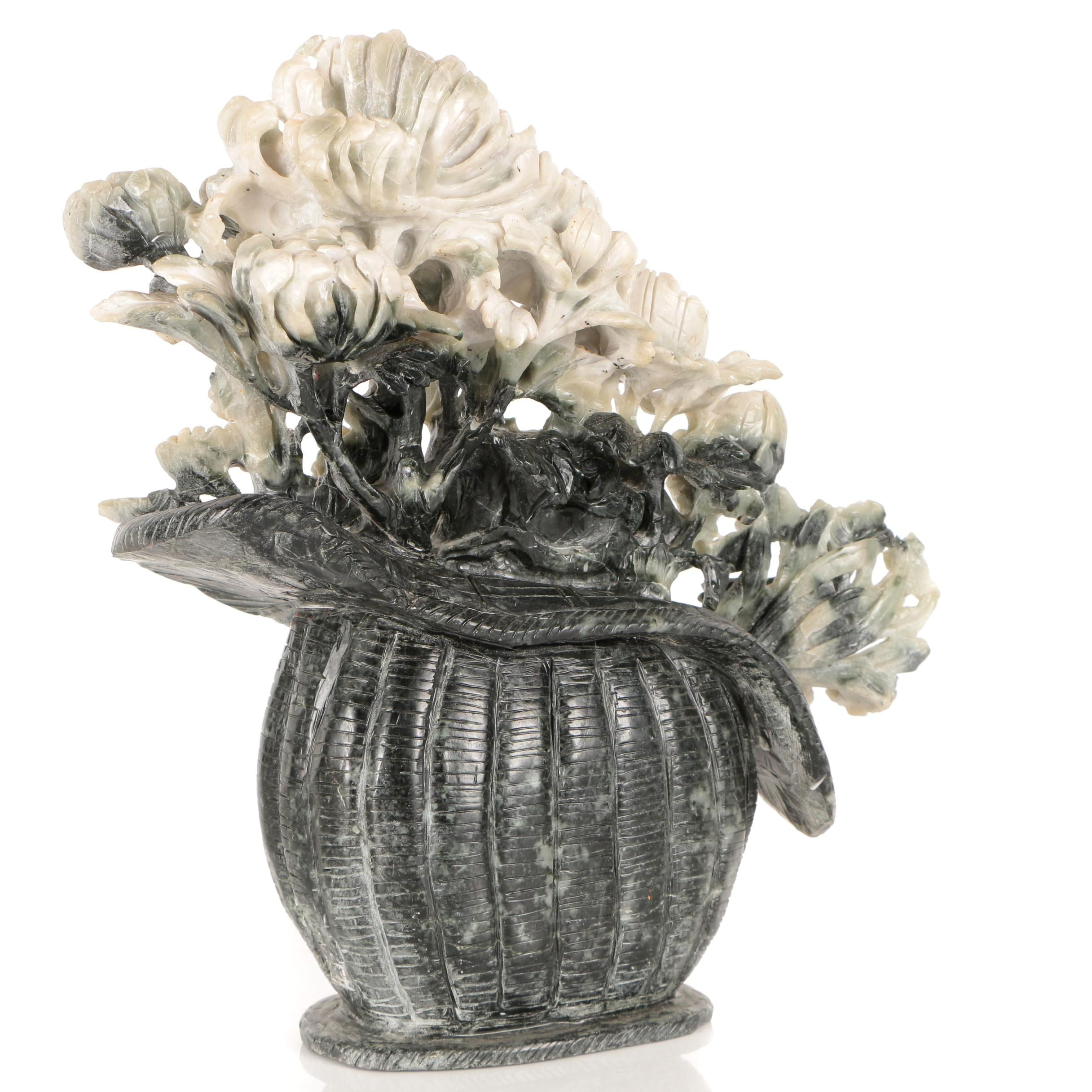 Chinese Soapstone Floral Arrangement Carving