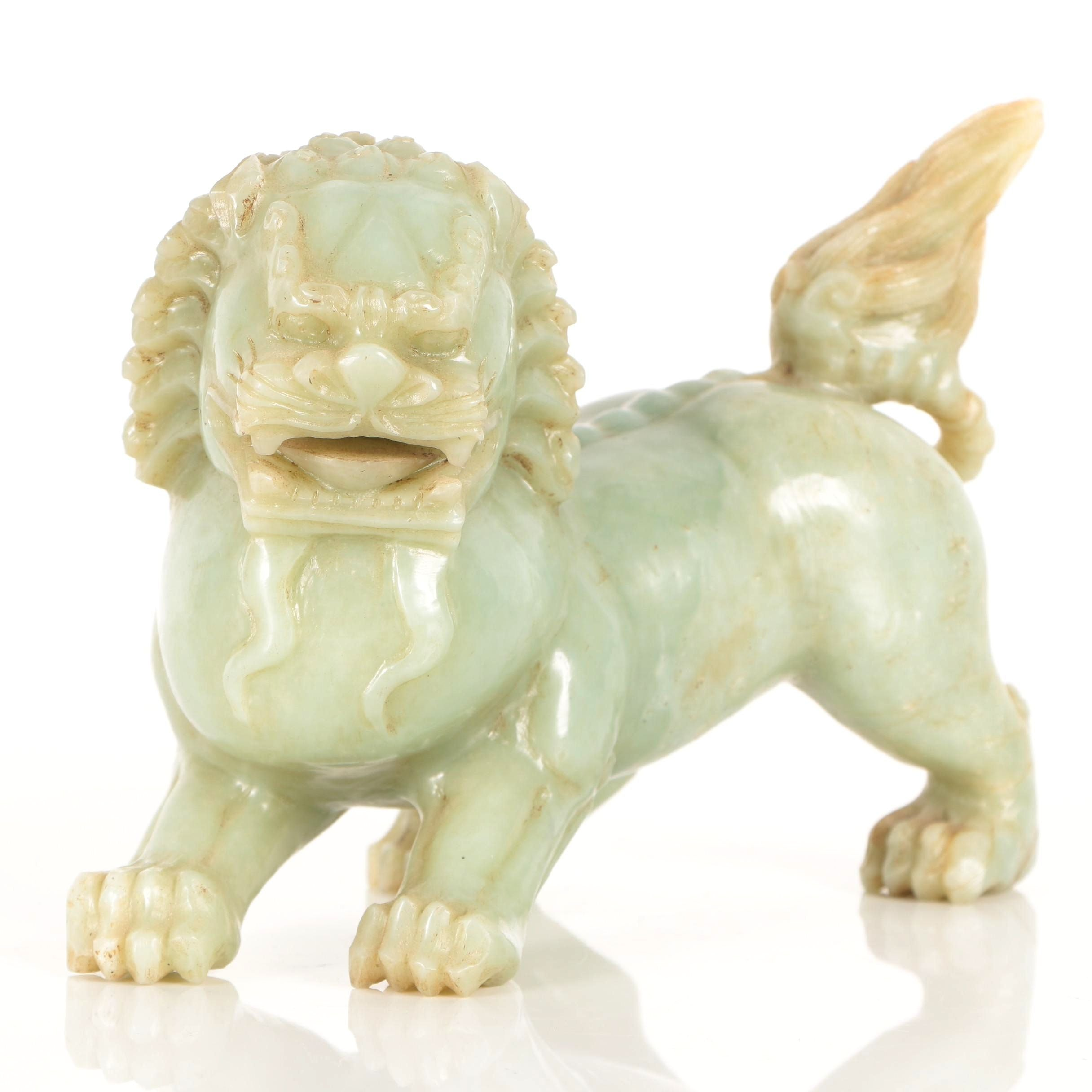 Chinese Bowenite Guardian Lion Sculpture