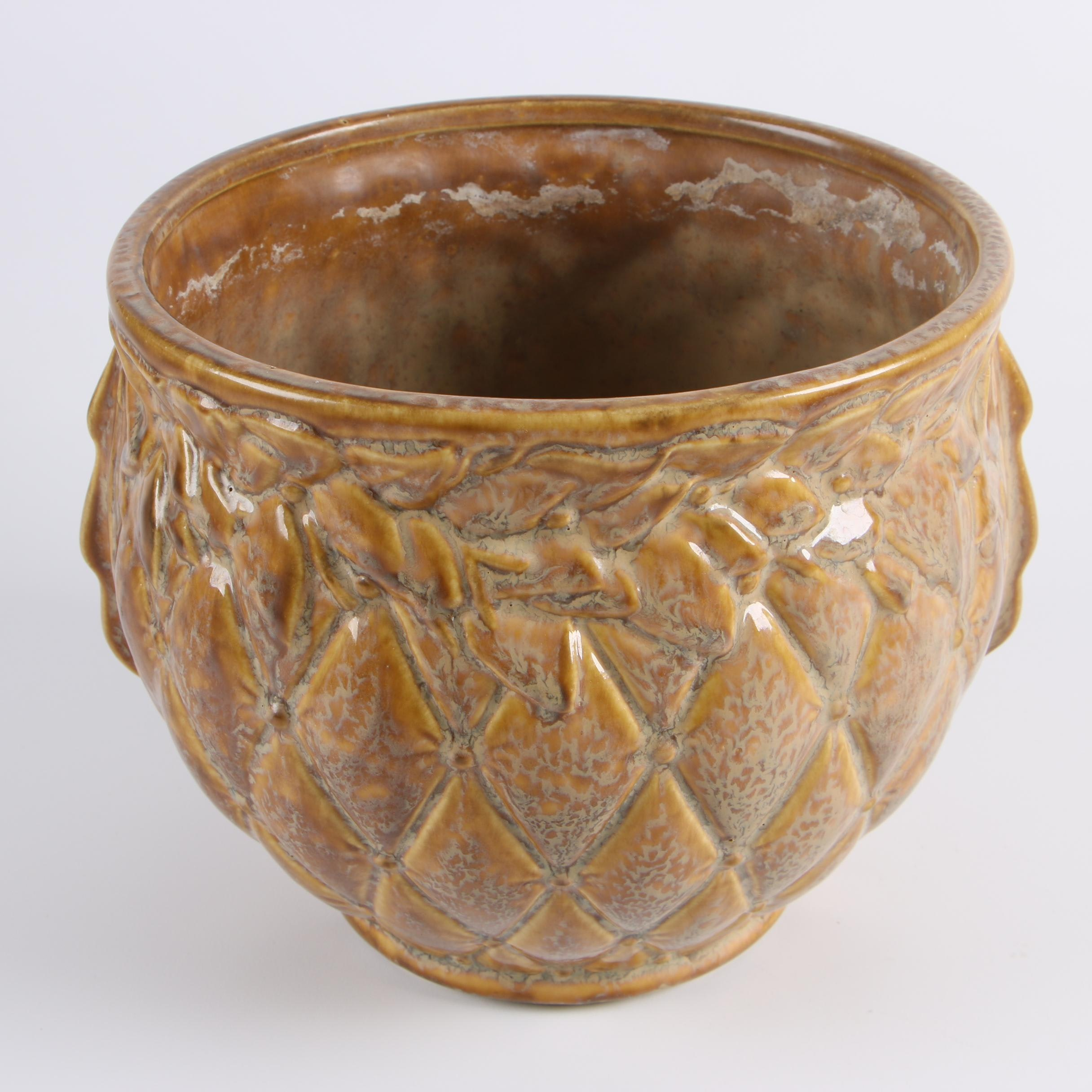 "Circa 1974 McCoy ""Quilted Leaves"" Jardiniere"