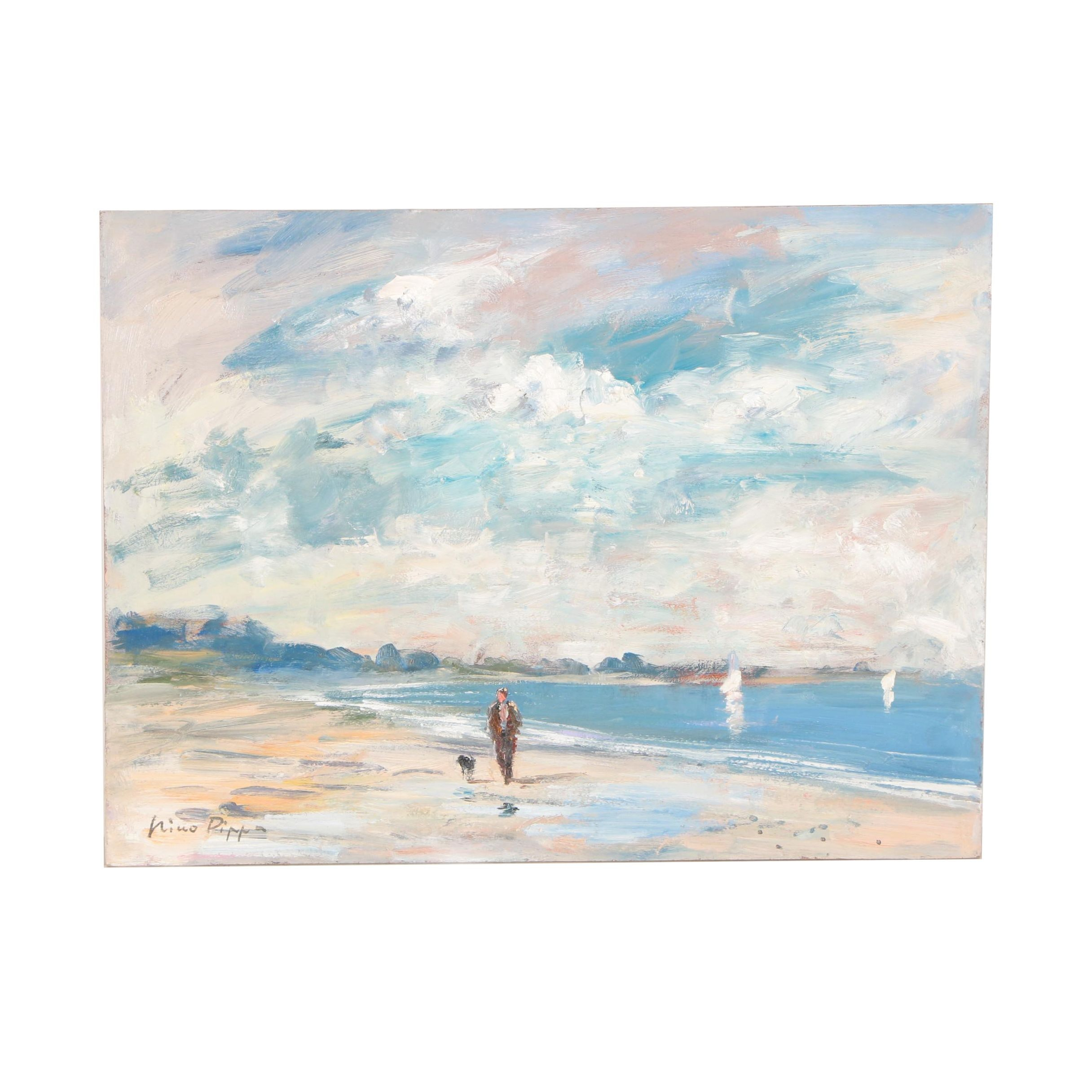 "Nino Pippa Oil Painting ""South Carolina - Best Friends Walk By the Seaside"""