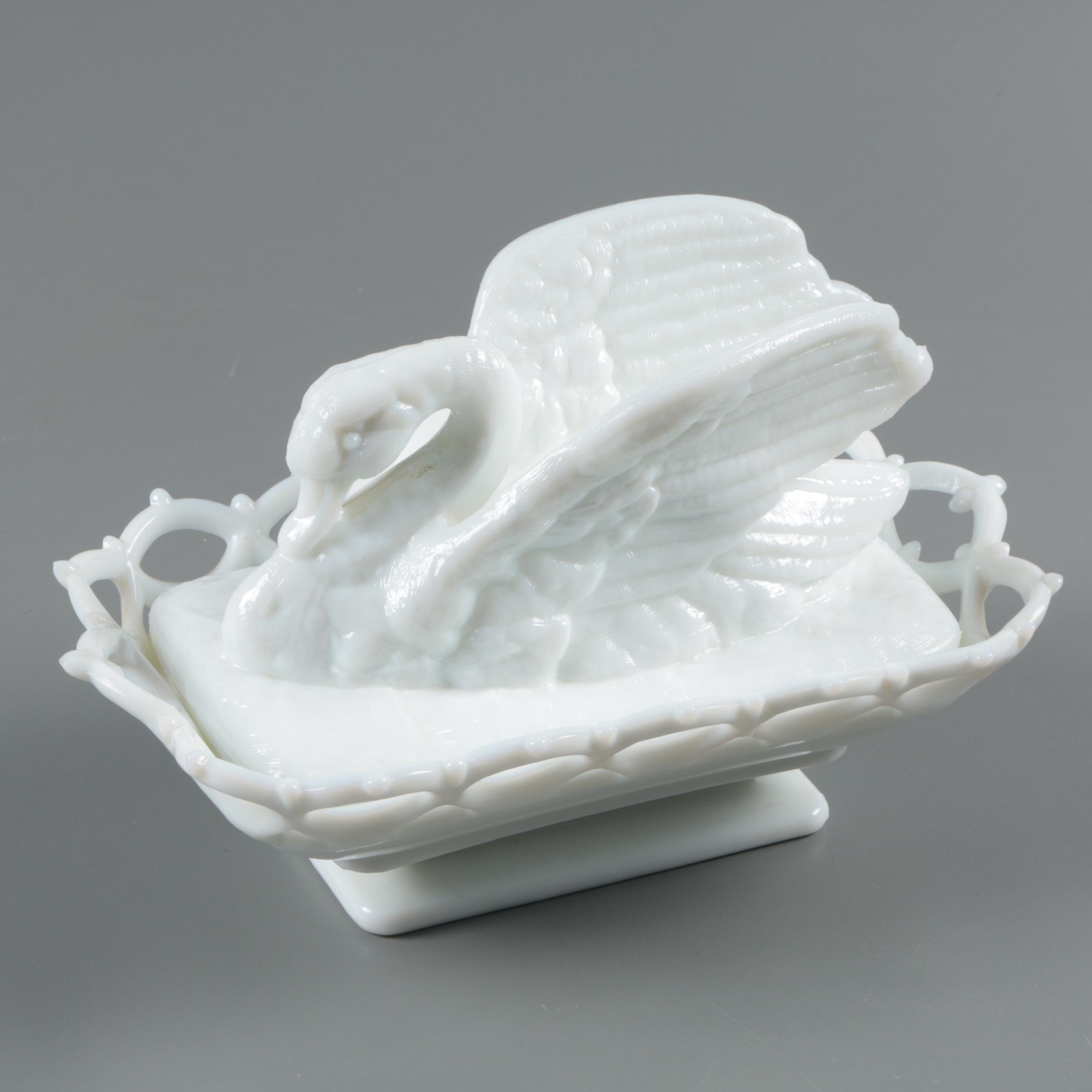 Westmoreland Milk Glass Lace Edge Serving Dish with Swan Lid circa 1940