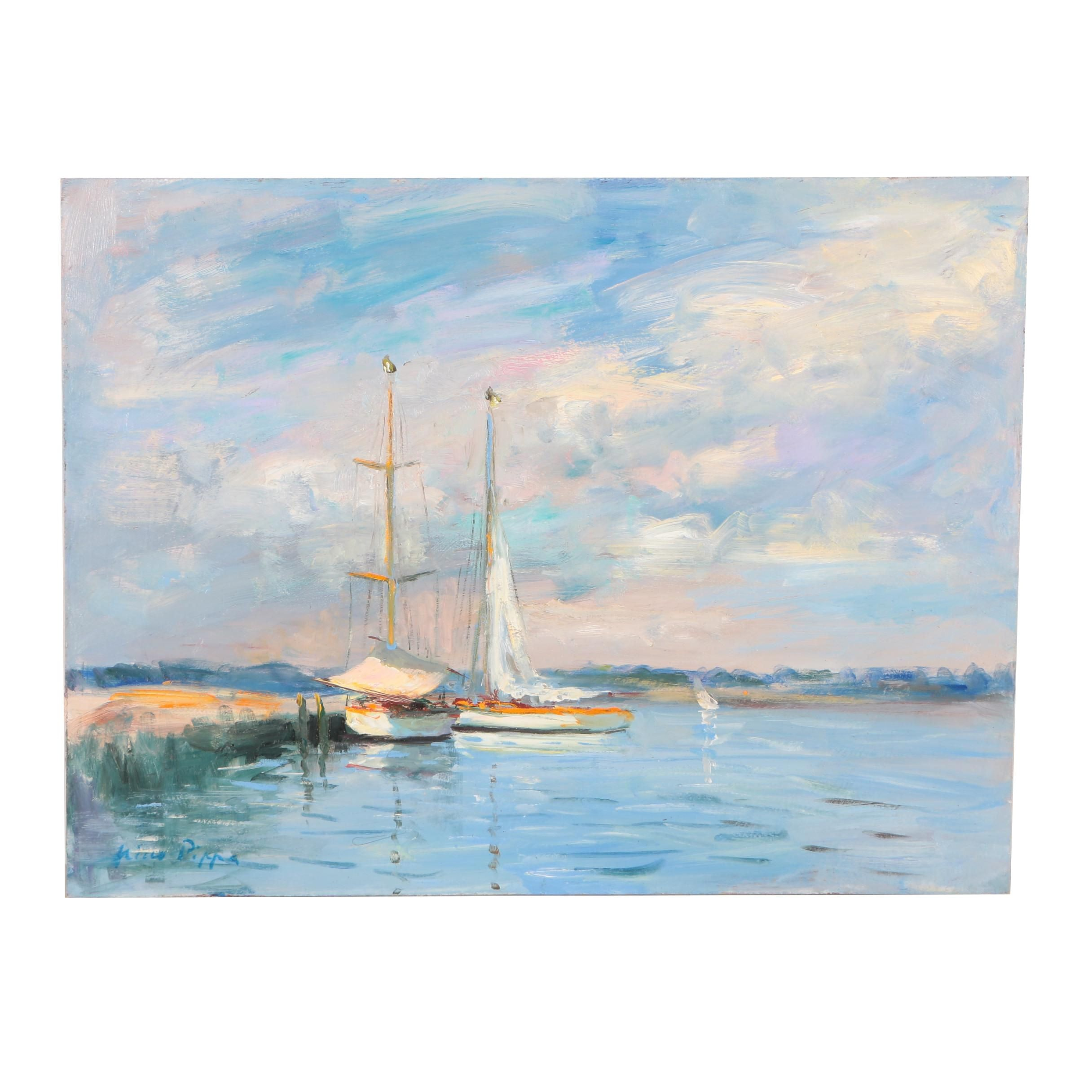 "Nino Pippa Oil Painting ""France, Sailboats on the Oise River"""