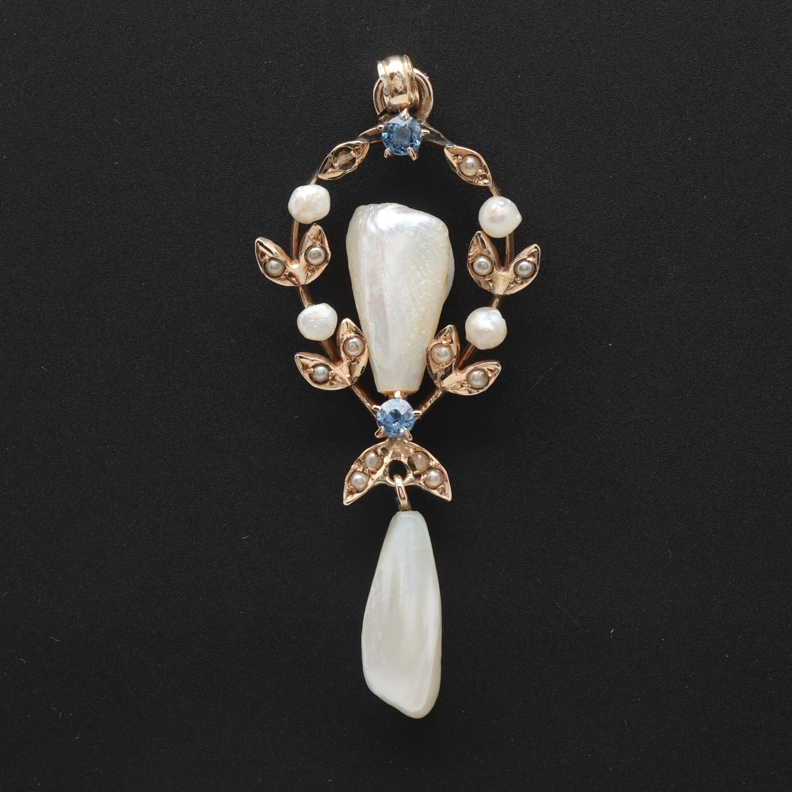 Circa 1910 14K Yellow Gold Cultured Pearl, Seed Pearl and Blue Sapphire Pendant