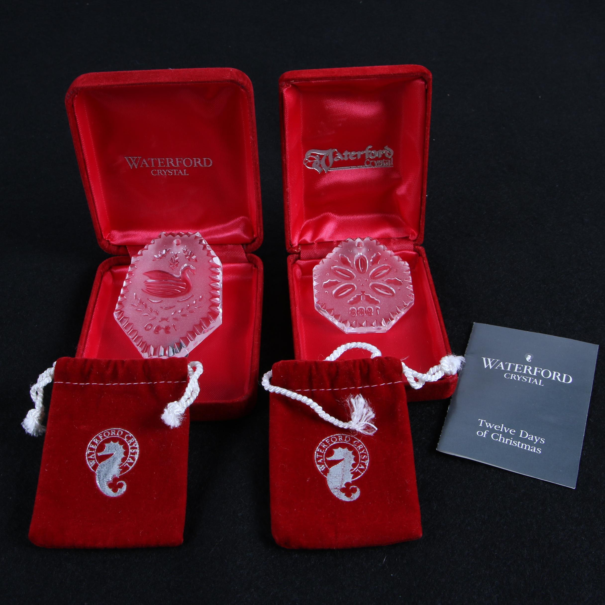 "Waterford Crystal ""Twelve Days of Christmas"" Ornaments, 1988-1990"