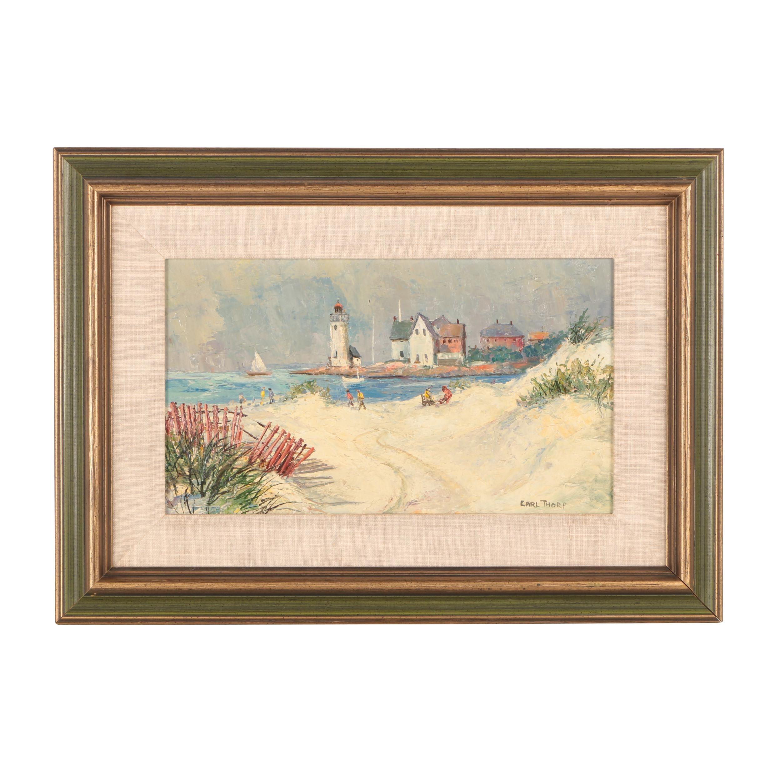 Carl Thorpe Beach Landscape Oil Painting