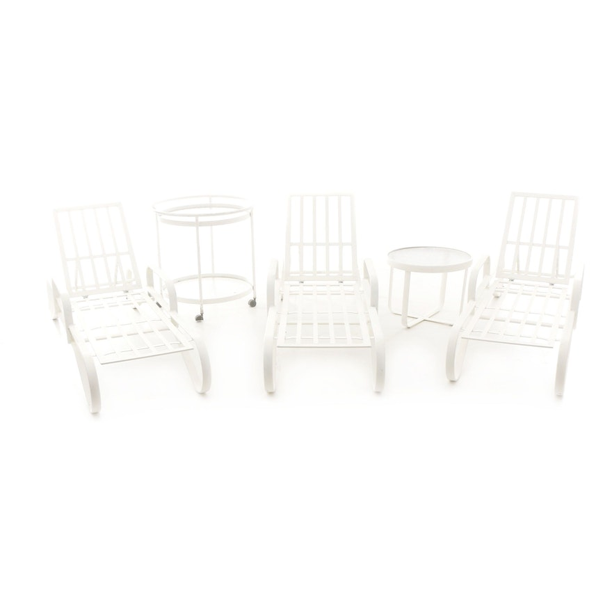 Tropitone Patio Chaise Lounge Chairs, Side Tables and Bar Cart in White