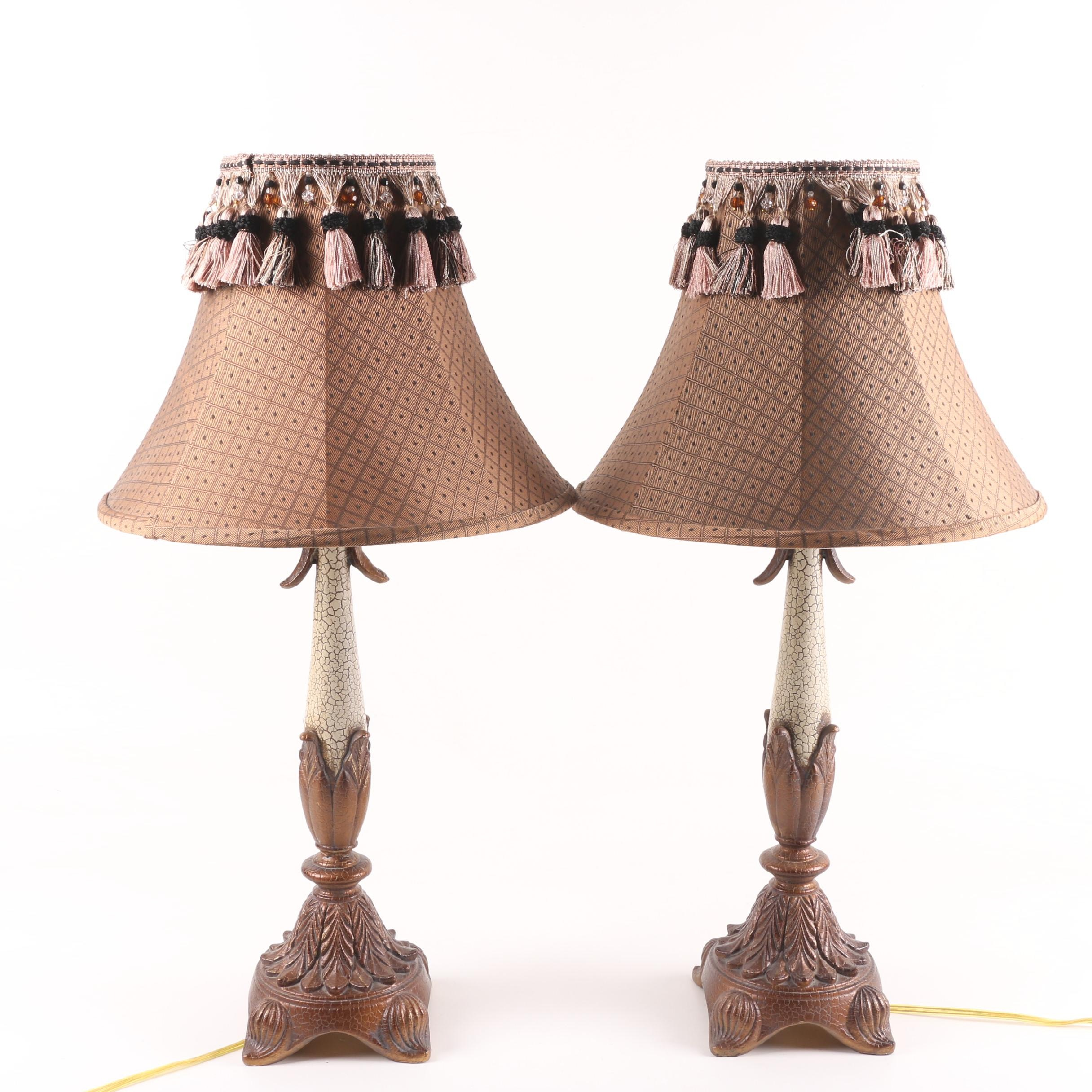 Berman Craquelure Finish Torch Style Table Lamps with Tassel Accented Shades