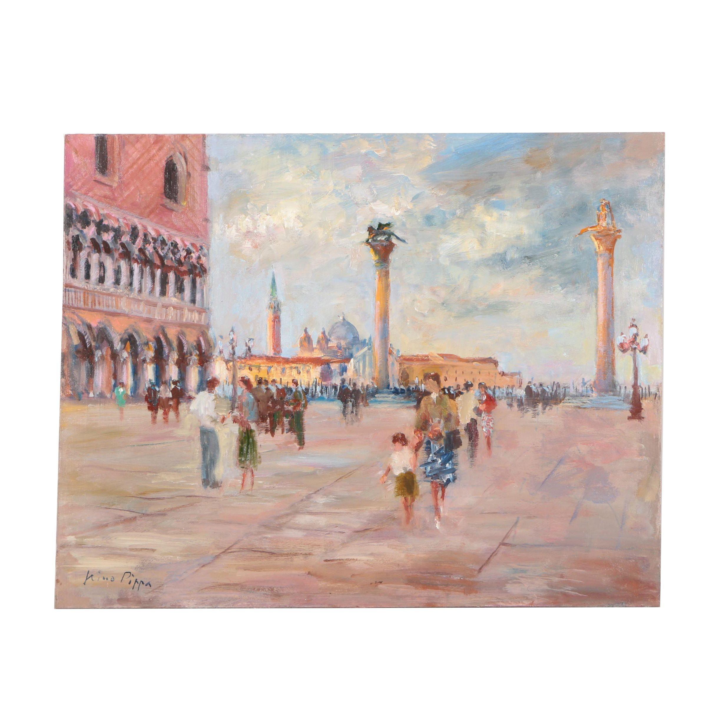 "Nino Pippa Oil Painting ""Venezia, Piazza Del Doge"""