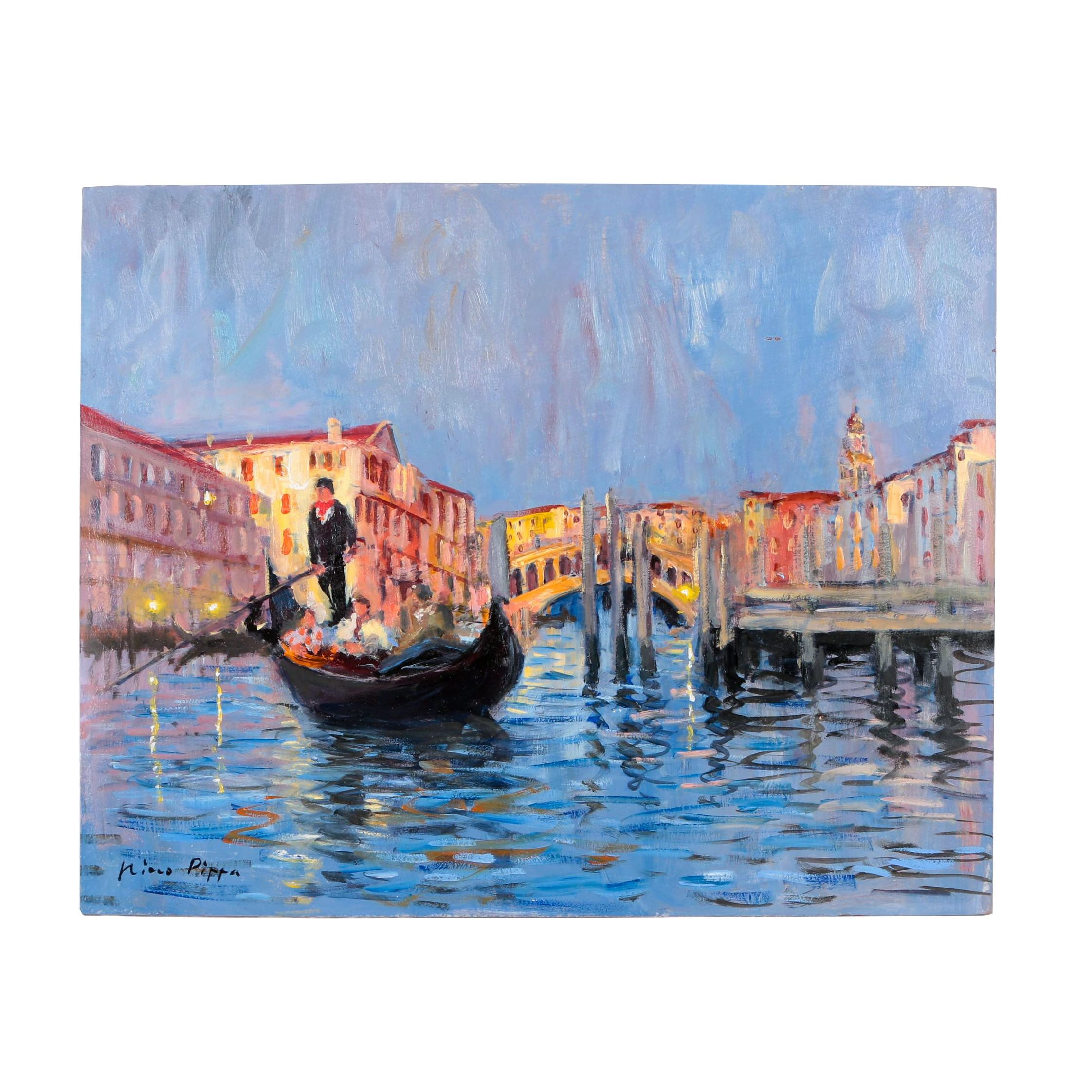 "Nino Pippa Oil Painting ""Venice, Leaving the Rialto"""