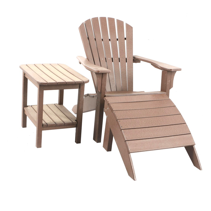 Astonishing Adirondack Chair Ottoman And Side Table By Seaside Casual Ncnpc Chair Design For Home Ncnpcorg