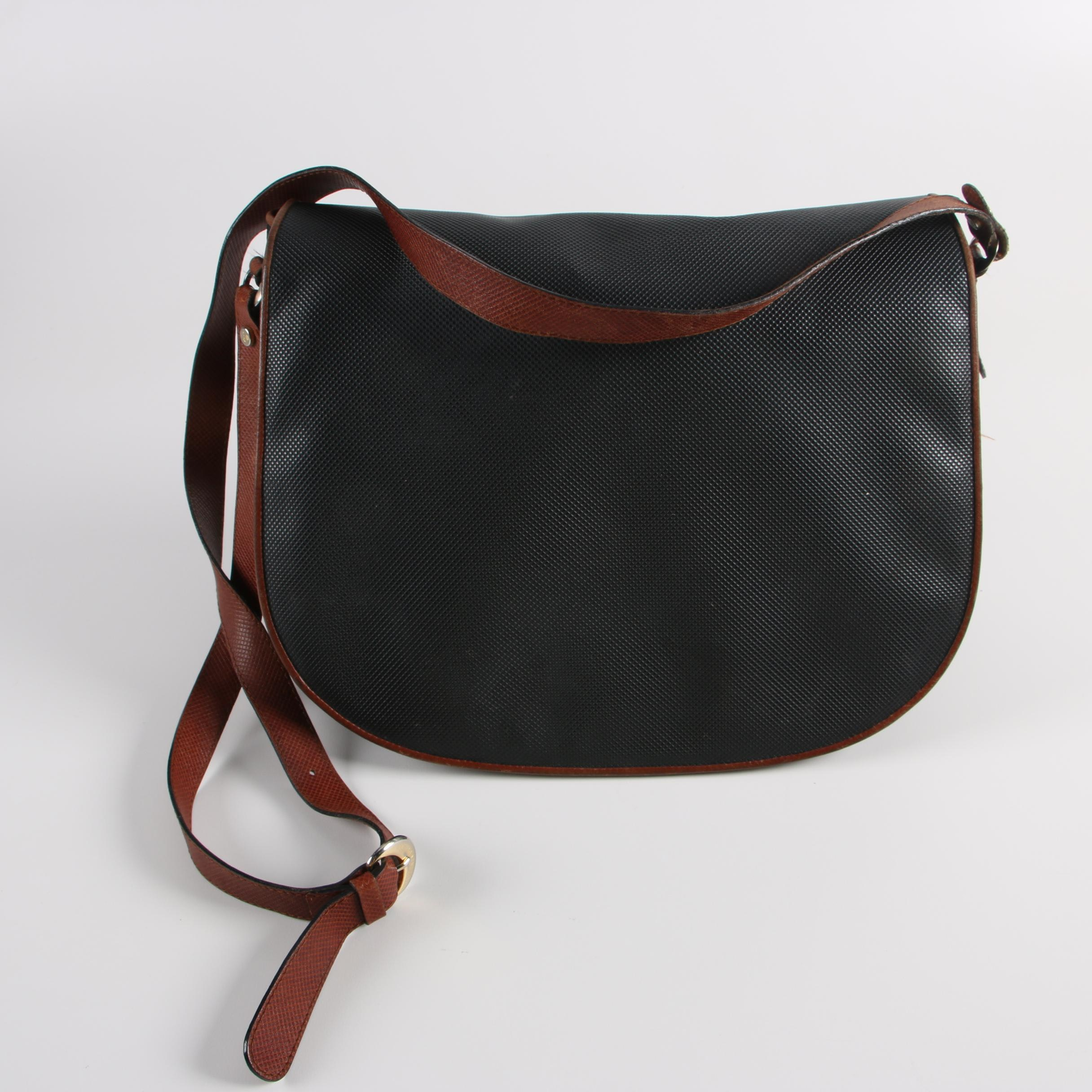 Bottega Veneta Black Coated Canvas Flap Shoulder Bag