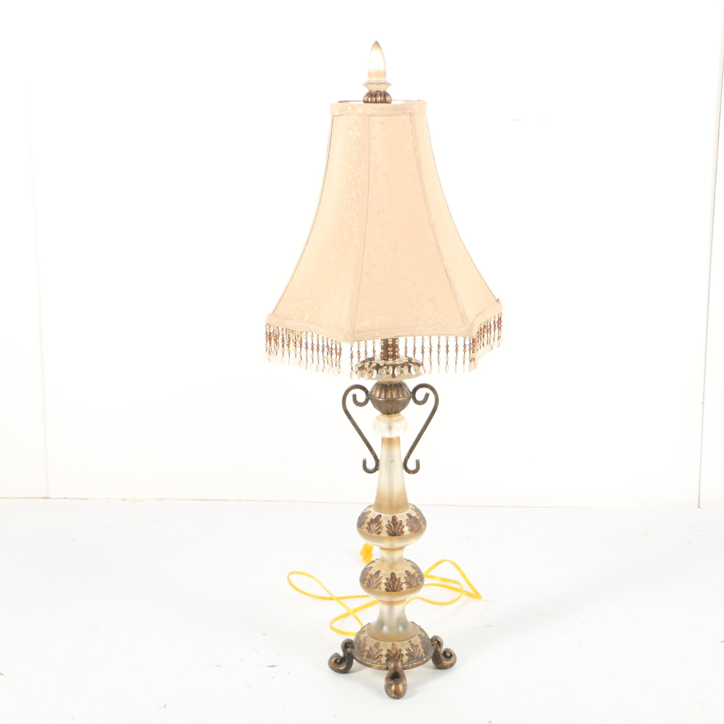 Contemporary Neoclassical Style Table Lamp with Beaded Fabric Shade