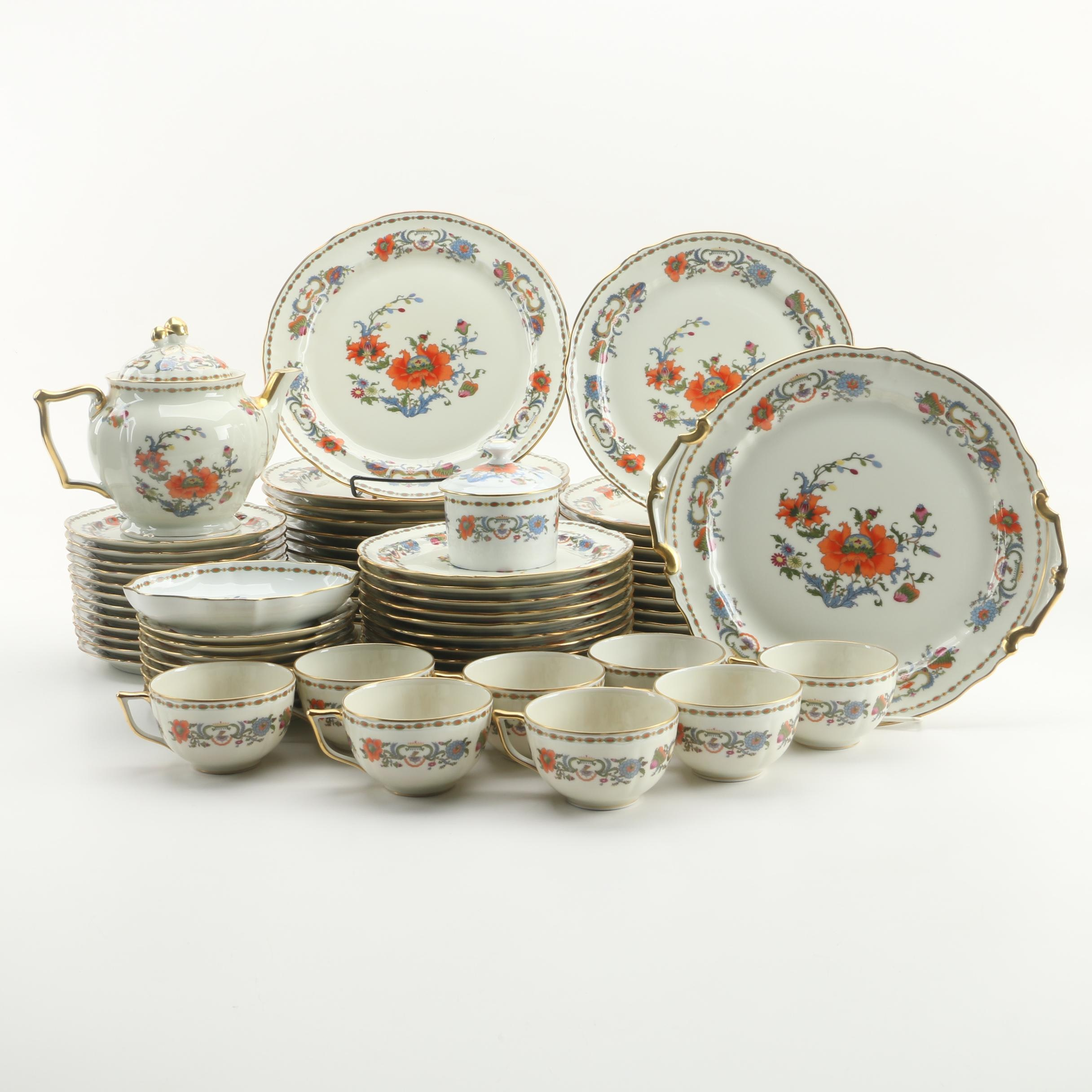 "Raynaud Limoges ""Vieux Chine"" Porcelain Dinner Service c. 1986-96"