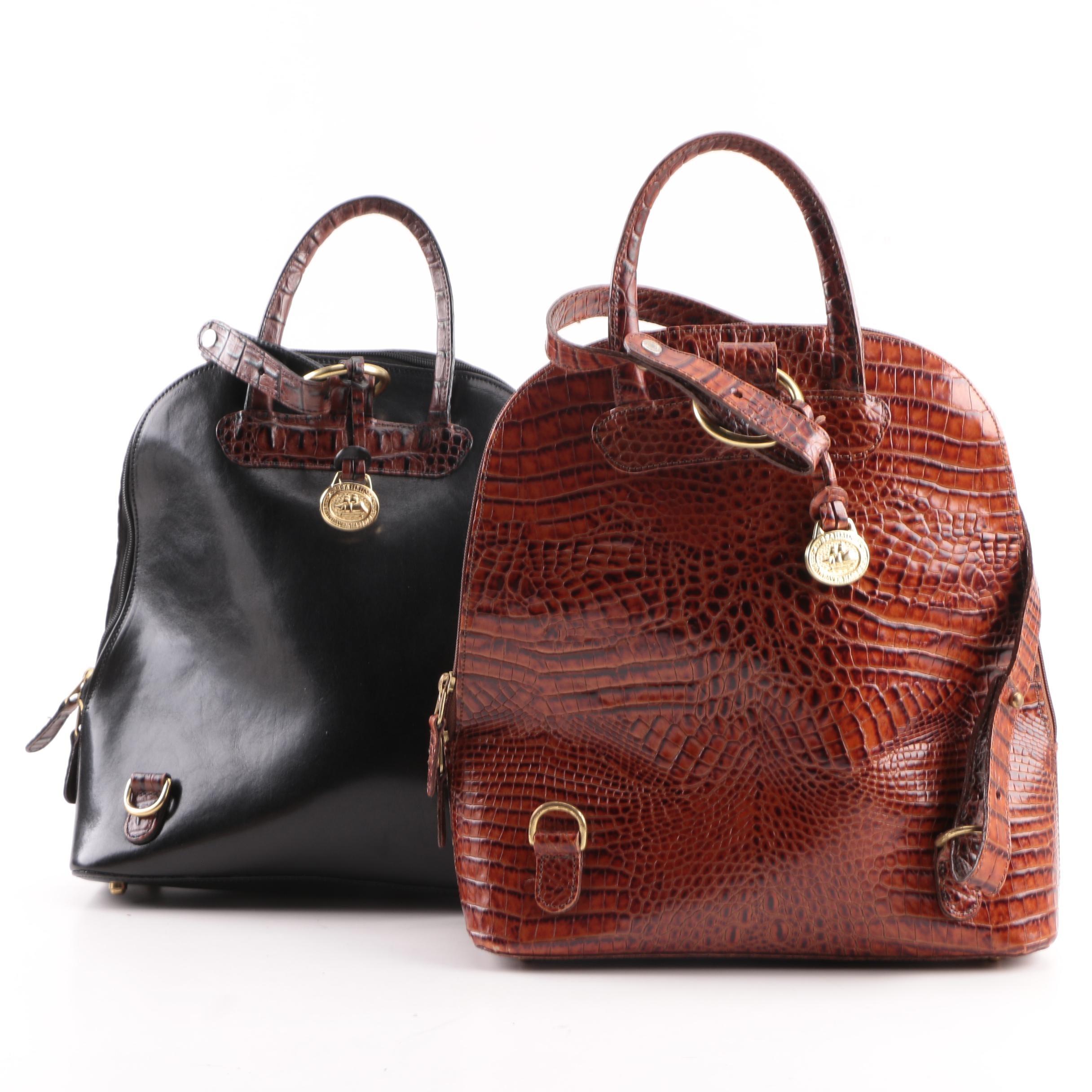 Brahmin Crocodile Embossed Pecan and Black Leather One-Shoulder Sling Backpacks