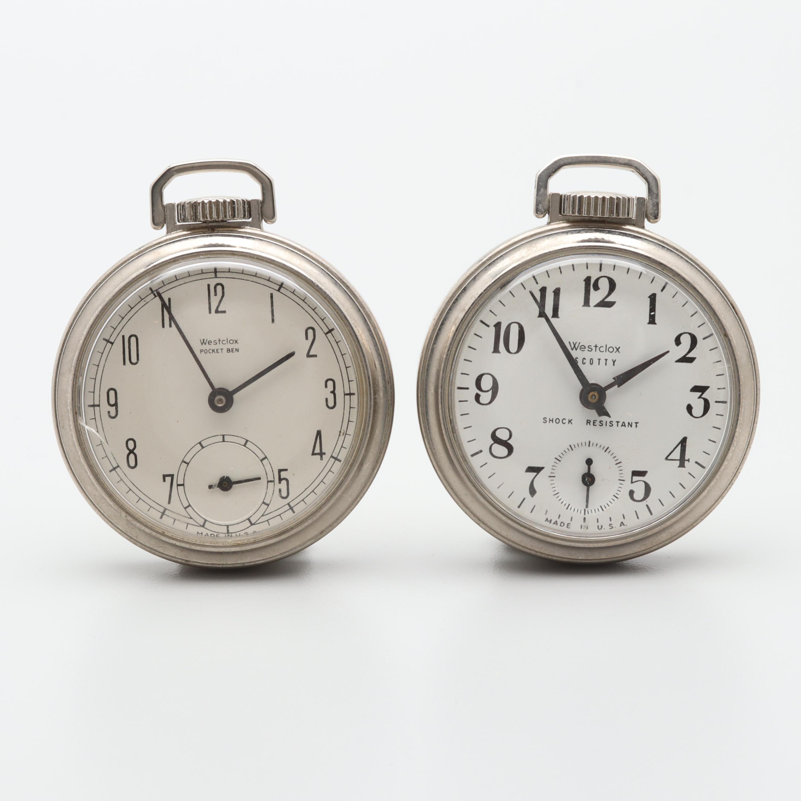 Westclox Silver Tone Open Face Pocket Watch Selection