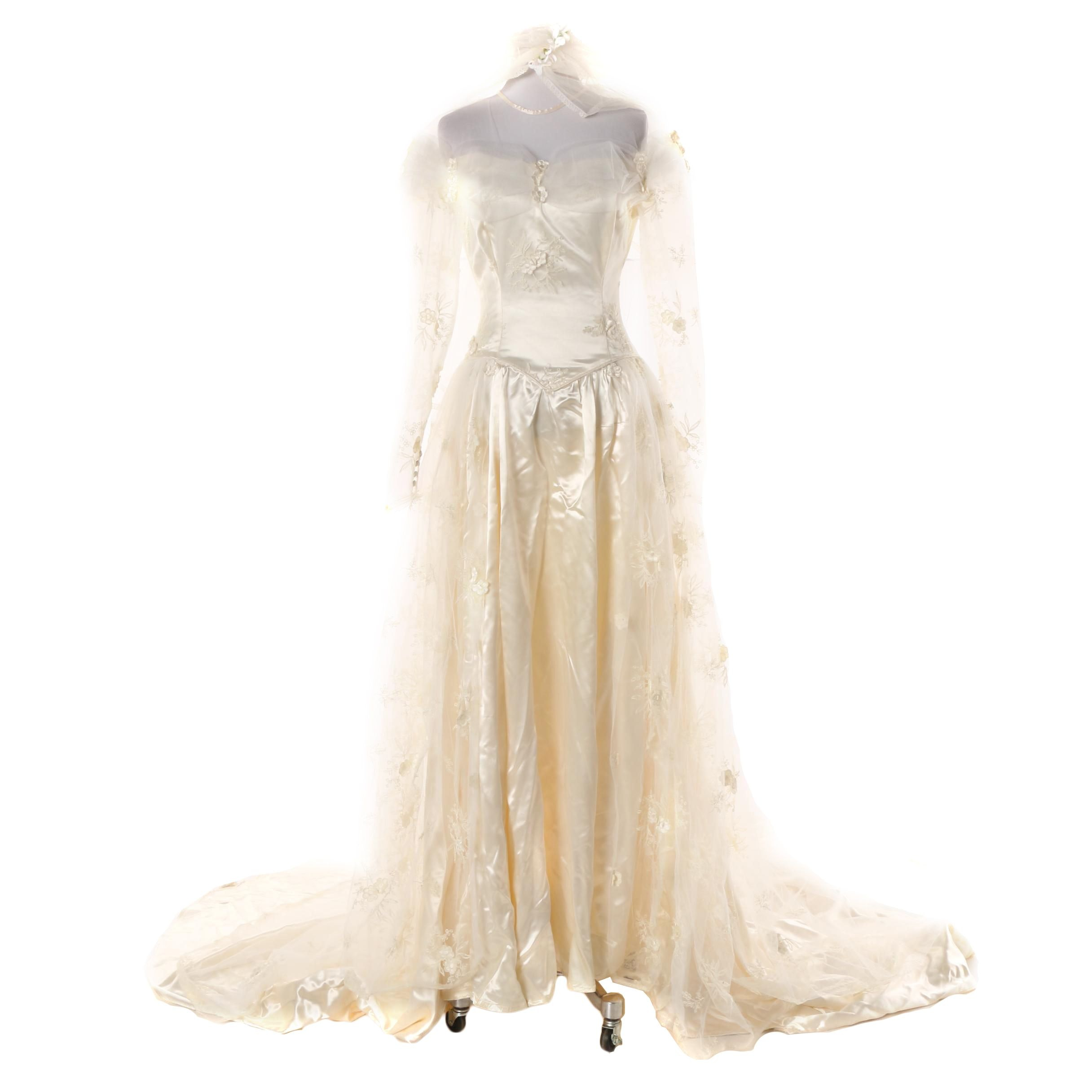 Circa 1950s Ivory Satin Wedding Gown with Embroidered Lace Train