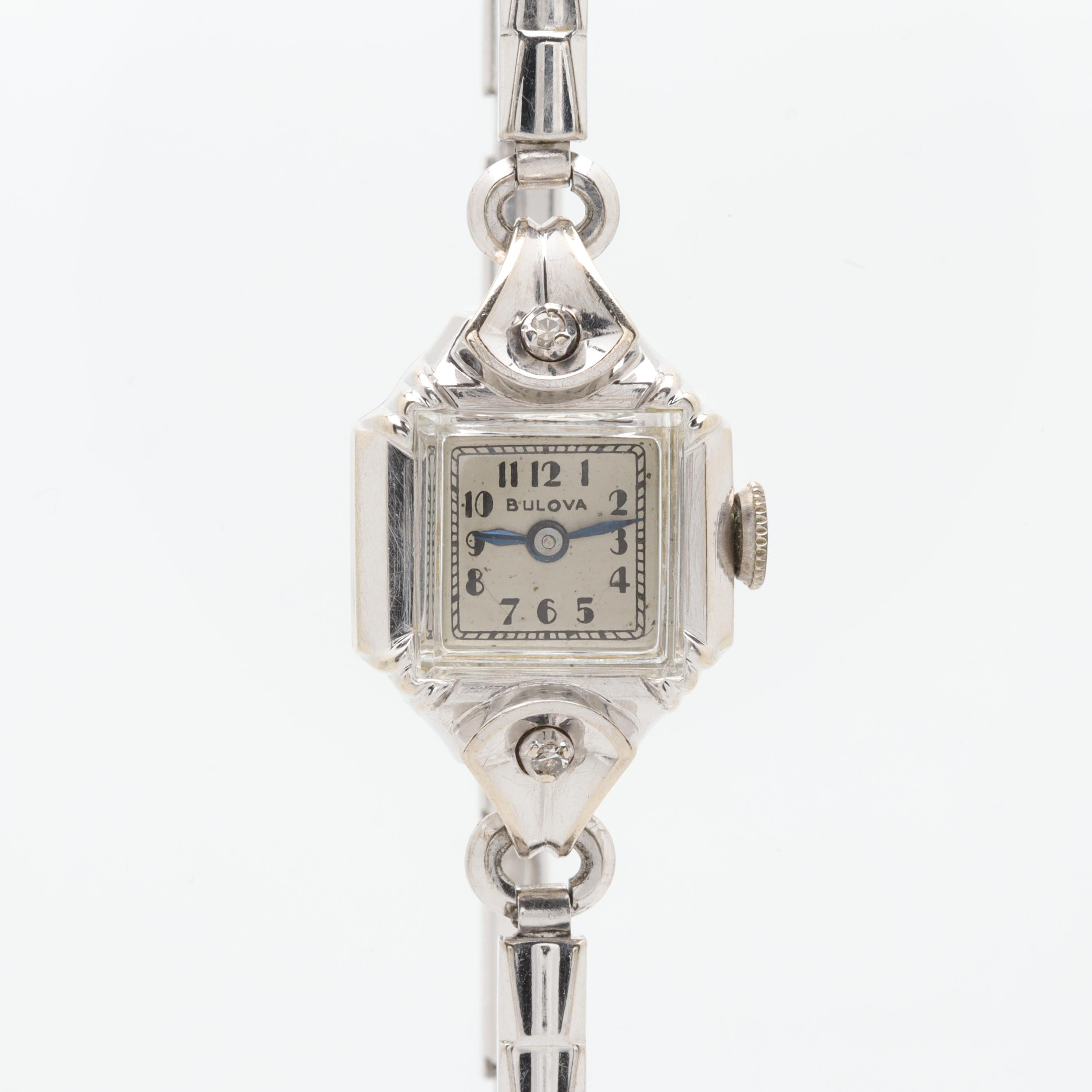 Bulova 14K White Gold Diamond Wristwatch