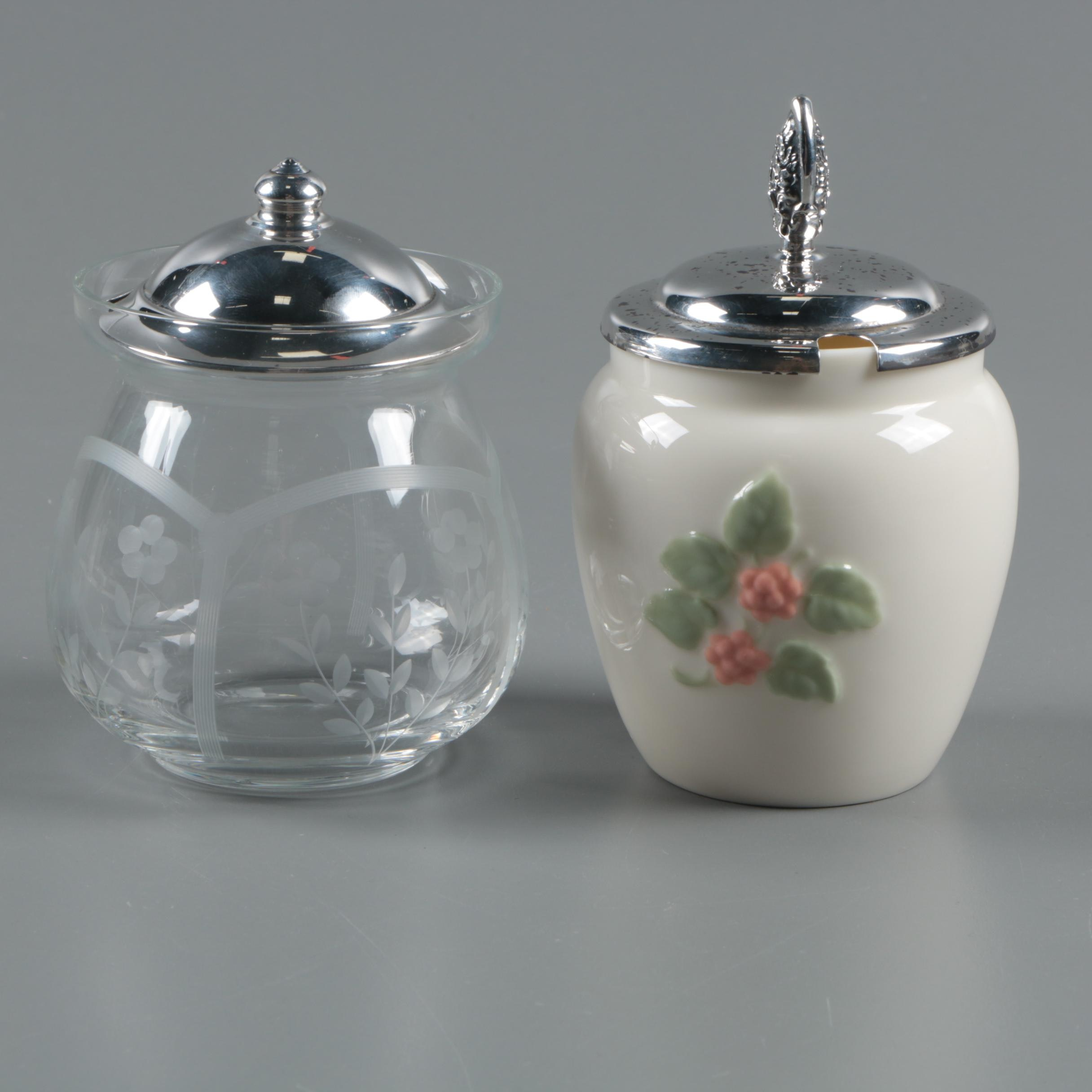 Sterling Lidded Condiment Jars featuring Lenox, Webster, and Lunt