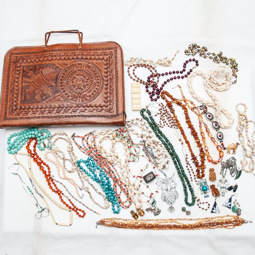Vintage Beaded Jewelry and Embossed Leather Tote