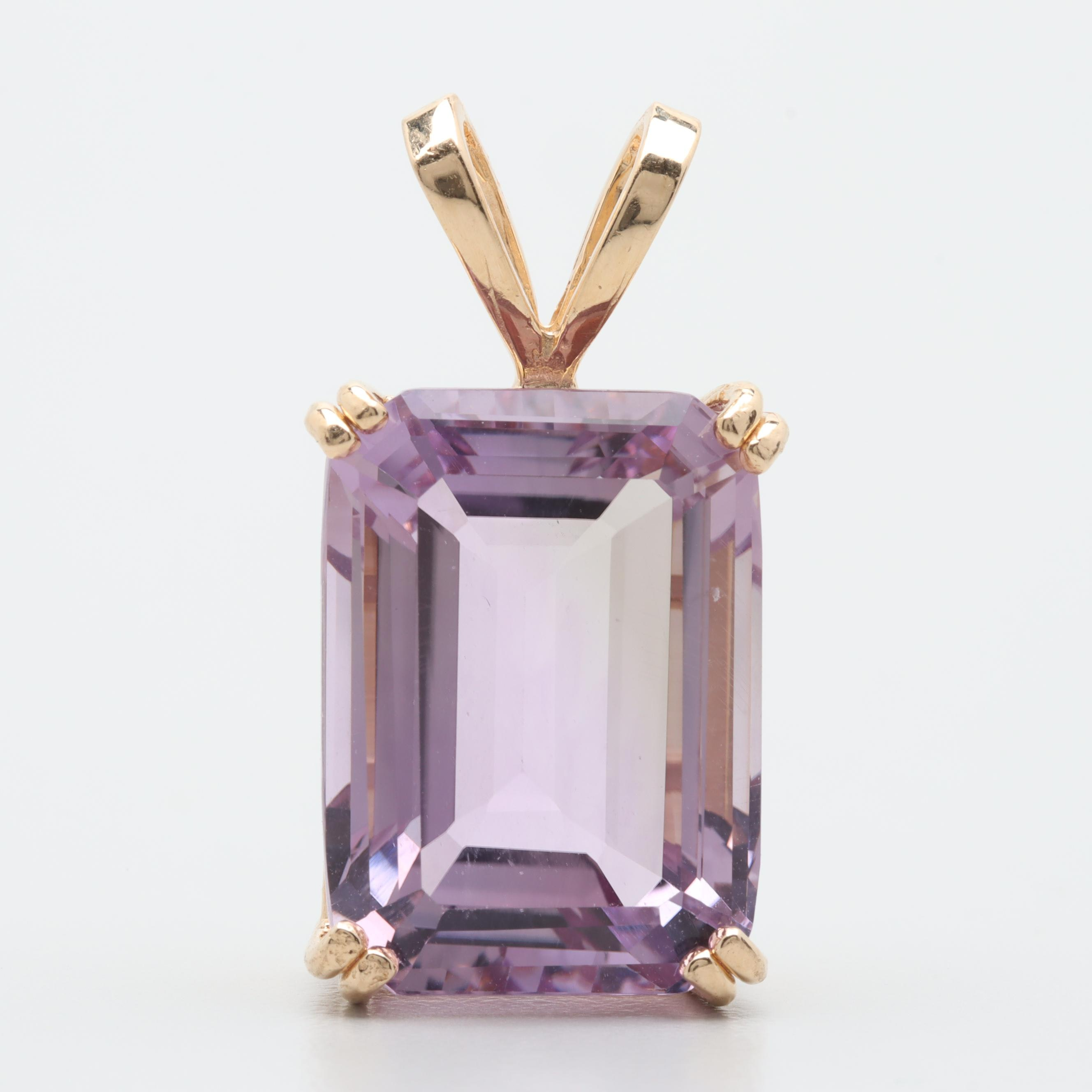 14K Yellow Gold 15.09 CT Amethyst Pendant