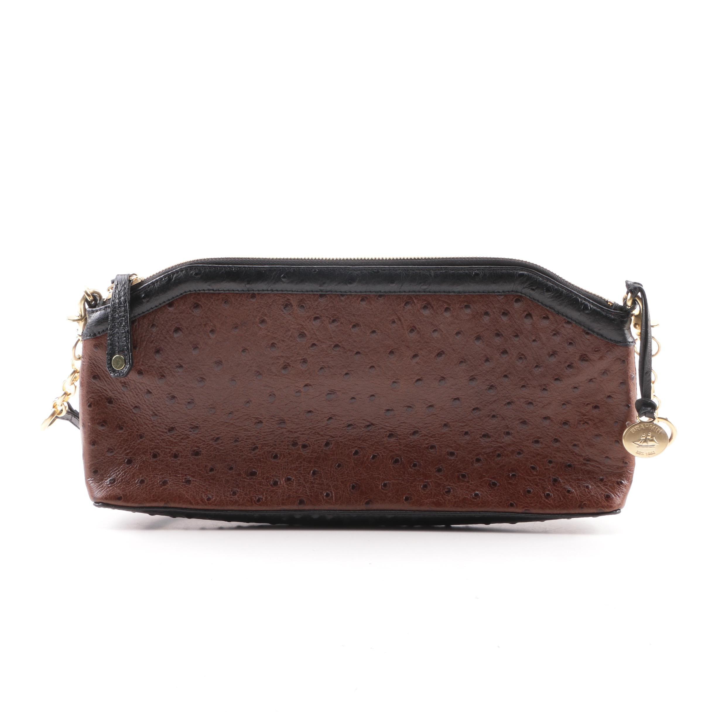 Brahmin Ostrich Embossed Brown Leather Top Handle Bag
