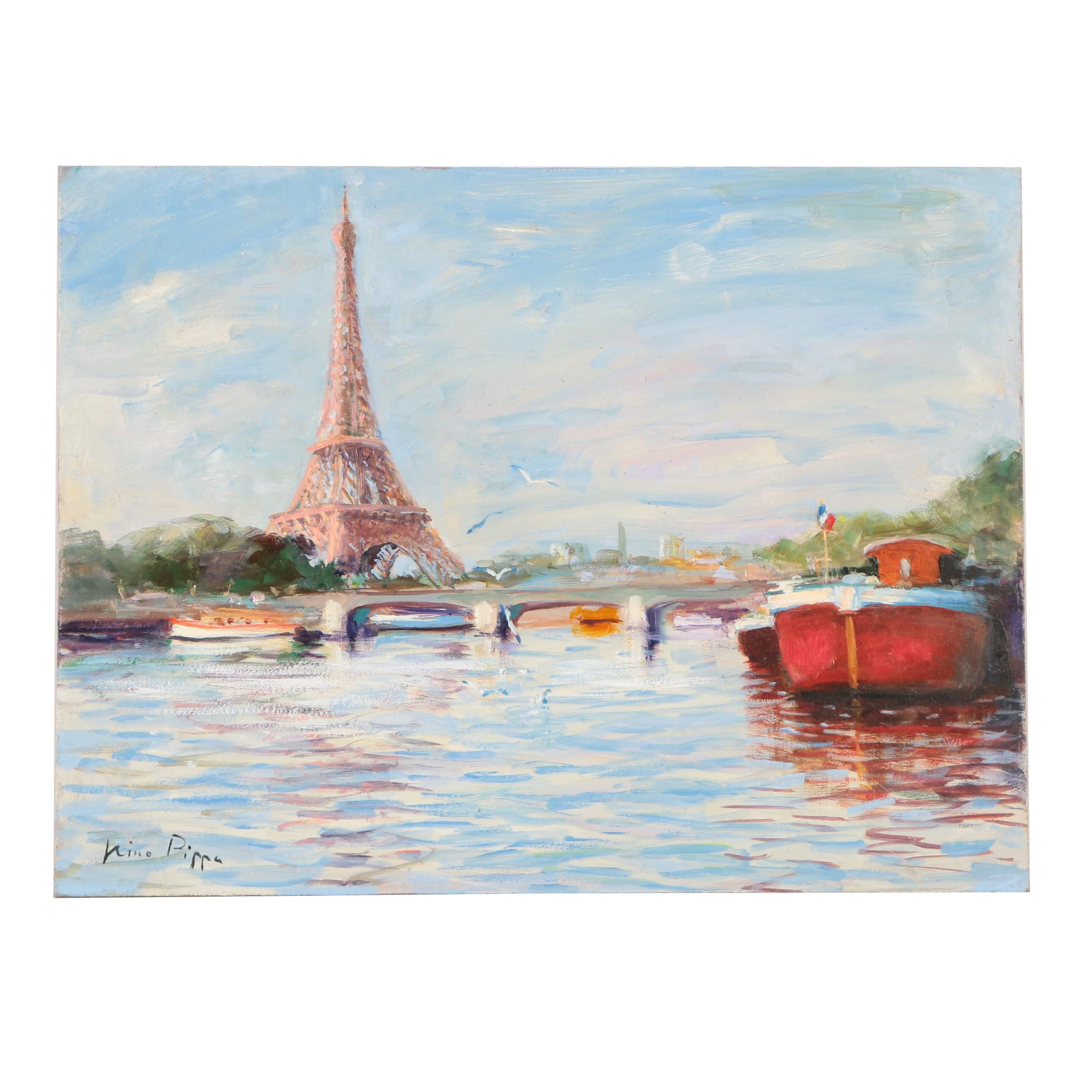 "Nino Pippa Oil Painting ""Paris, Reflections on the Seine"""