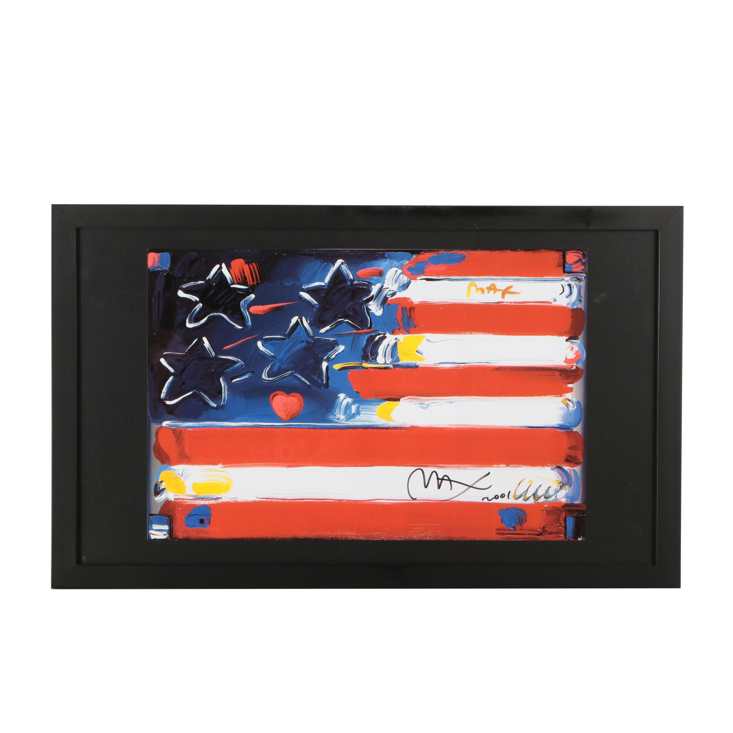 "Giclée after Peter Max from Series ""Flag with Heart"""