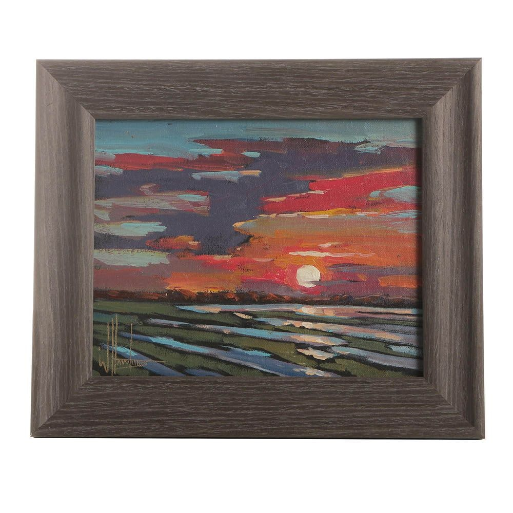 WIlliam Hawkins Sunset Oil Painting