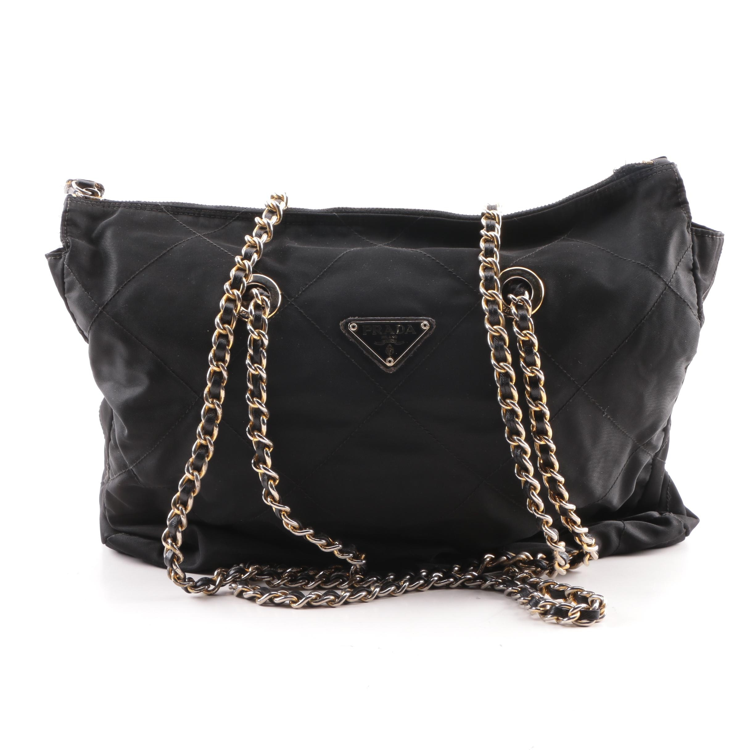 Prada Quilted Black Nylon Shoulder Bag