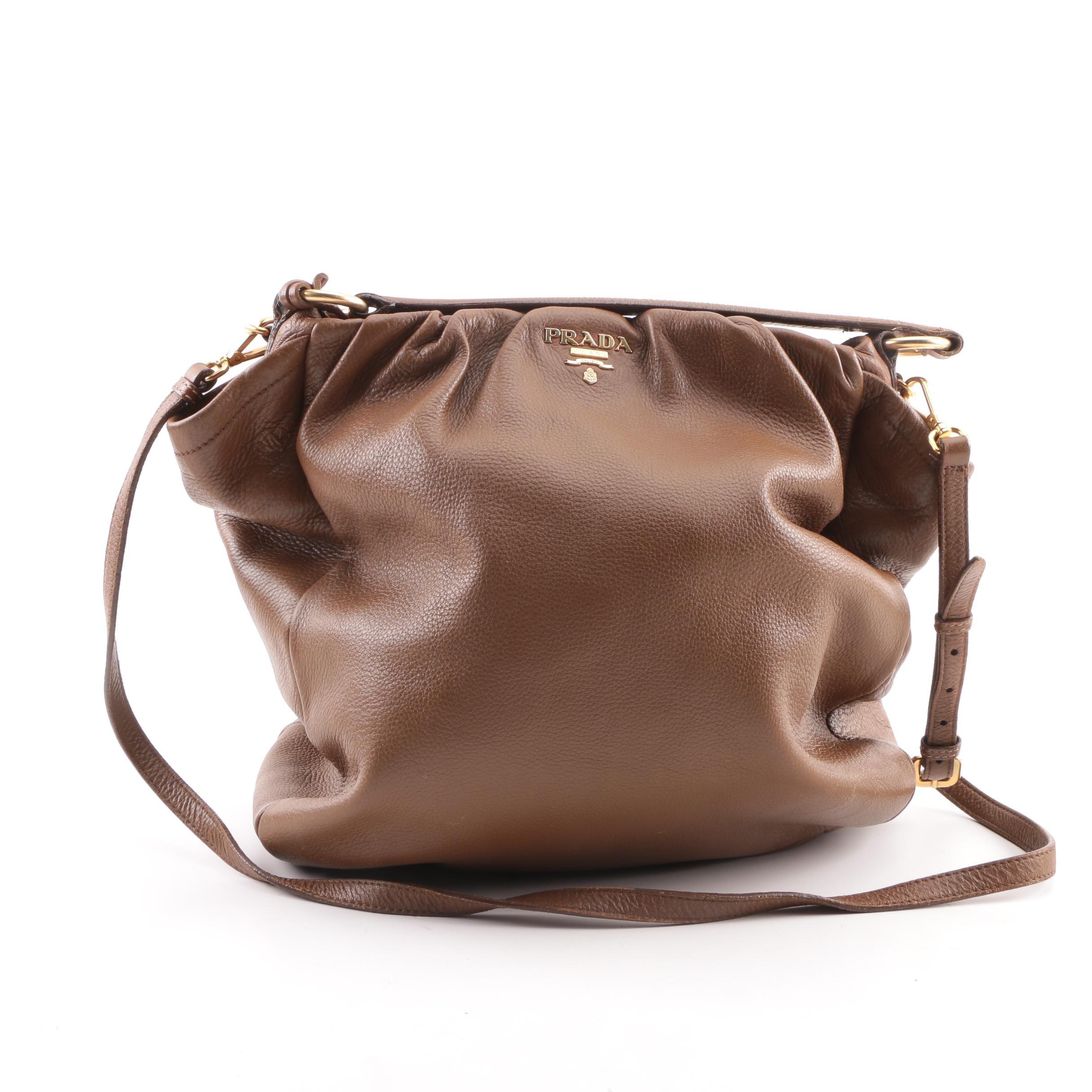 Prada Brown Leather Shoulder Satchel