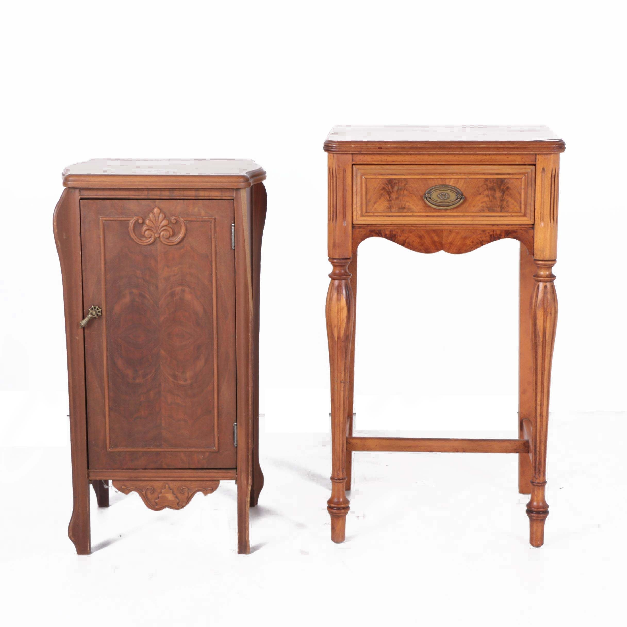 Victorian Style Mahogany Music Cabinet and Burl Wood End Table, Mid 20th Century