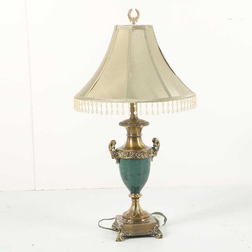 Neoclassical Style Brass Tone and Faux Marble Urn Form Table Lamp