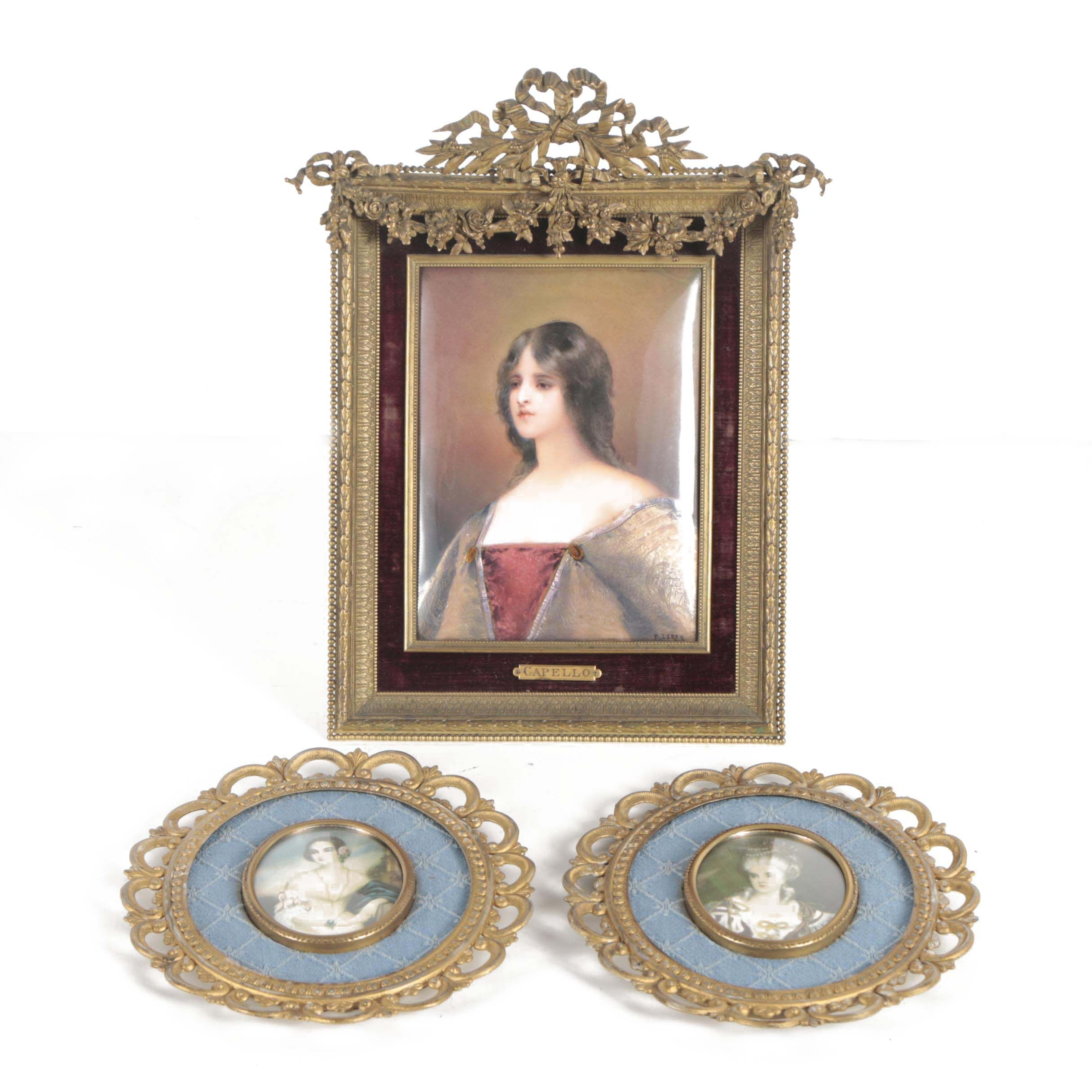 Vintage Enamel and Offset Lithograph Portraits