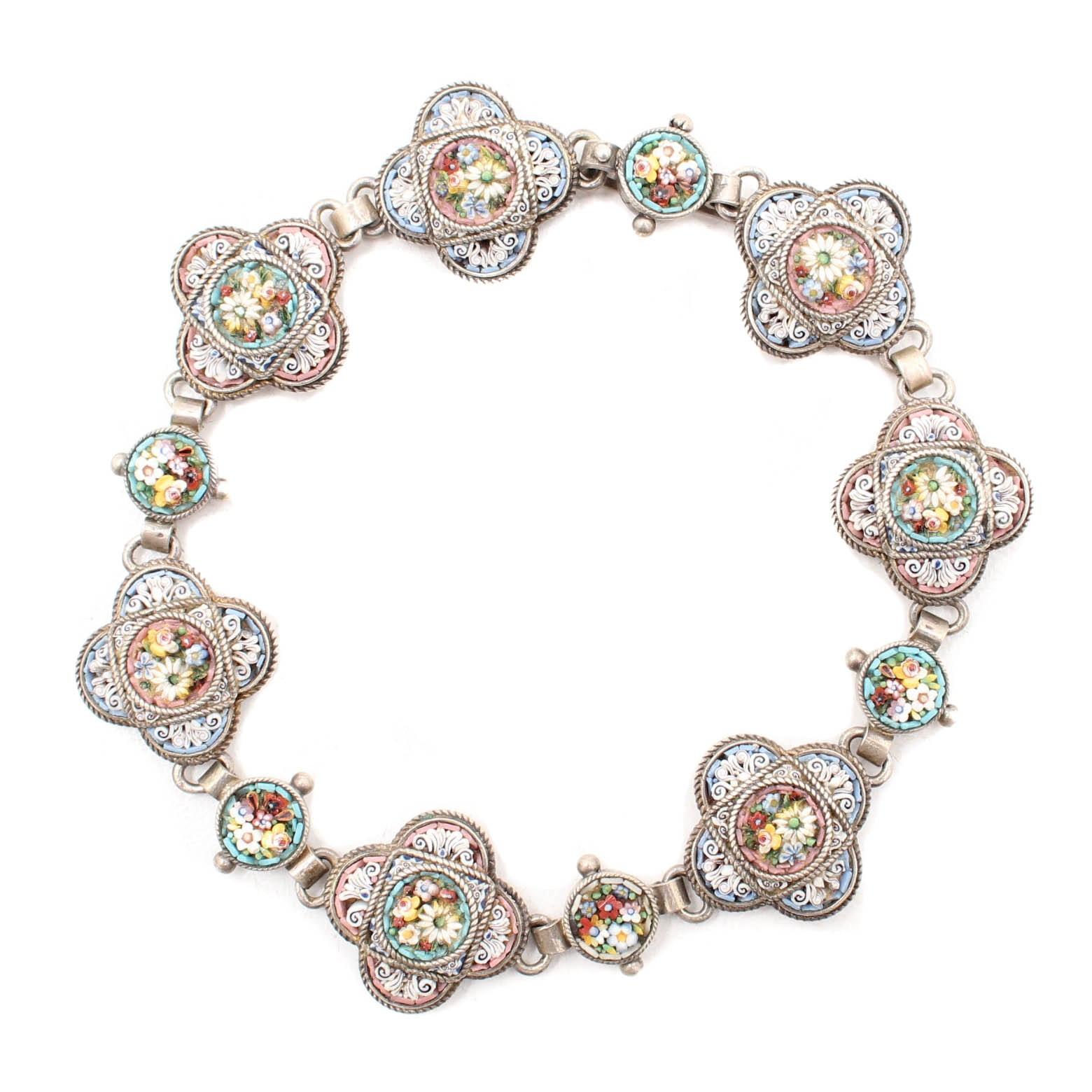 Vintage 800 Silver Micro Mosaic Bracelet