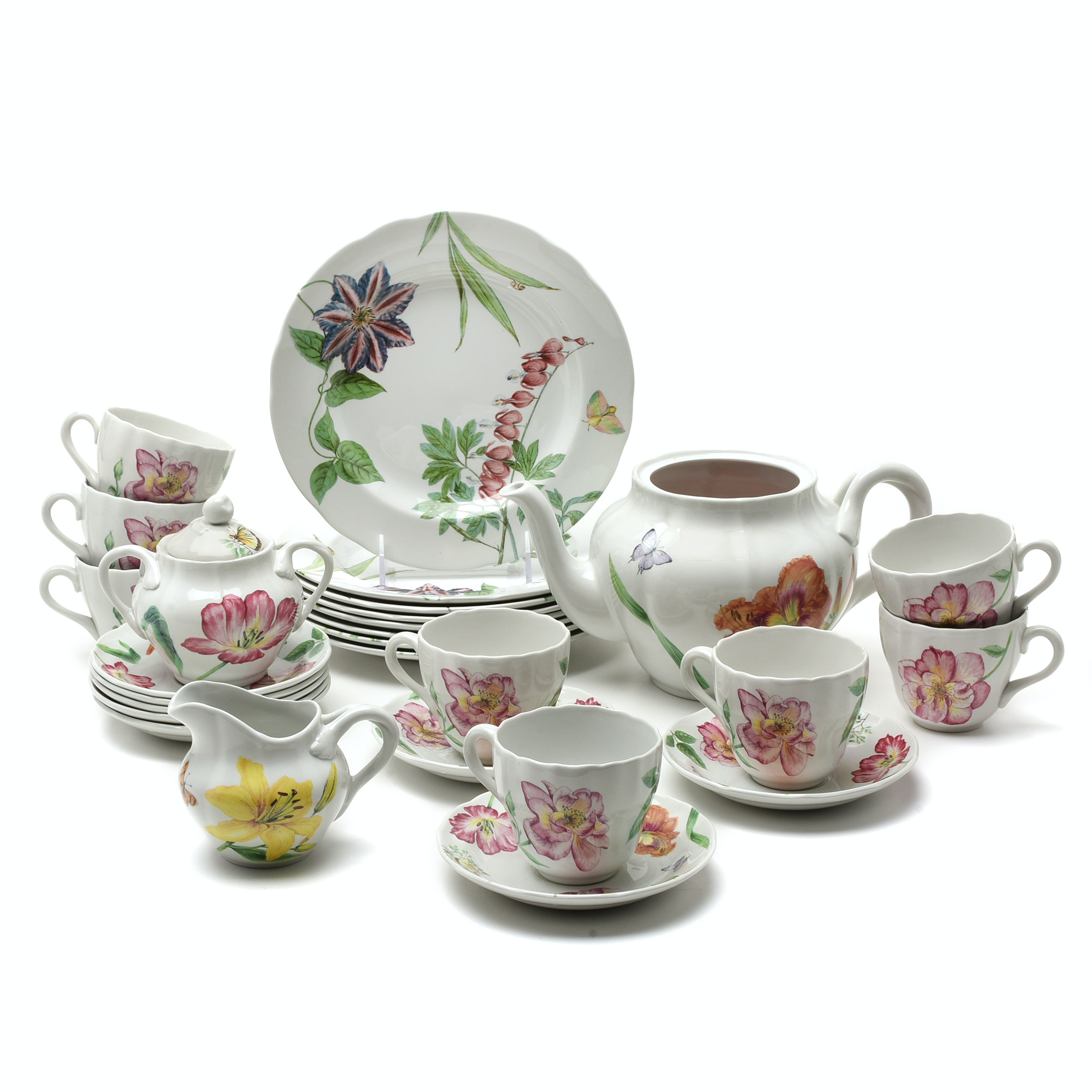 "Spode  ""English Floral"" Dessert Plates, Cups, Saucers and Three-Piece Tea set"