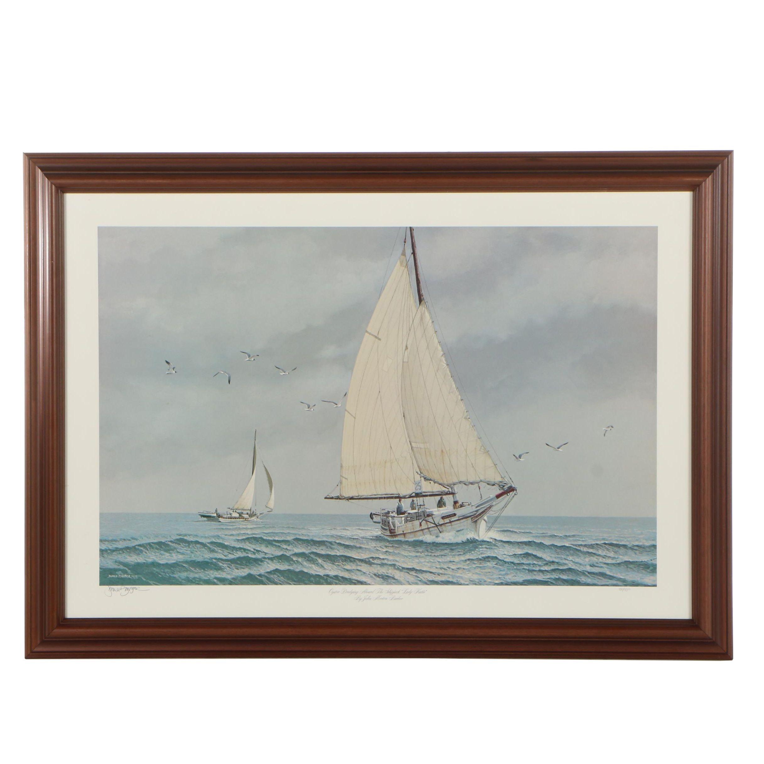 "John Morton Barber Offset Lithograph ""Oyster Dredging Aboard the Shipwreck"""