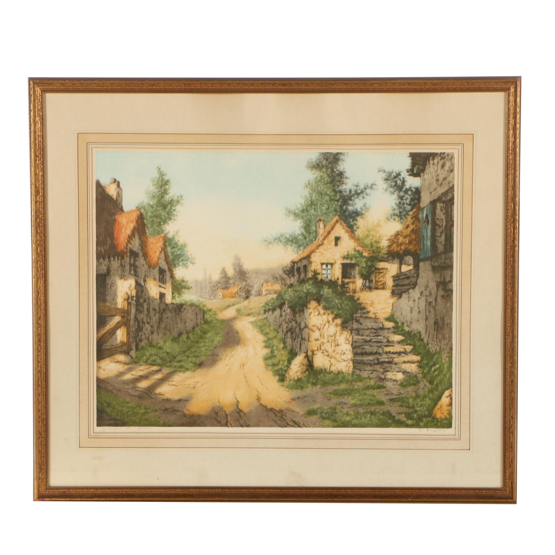 """R. Barnaix Color Etching """"Croisée des Chemins"""""""