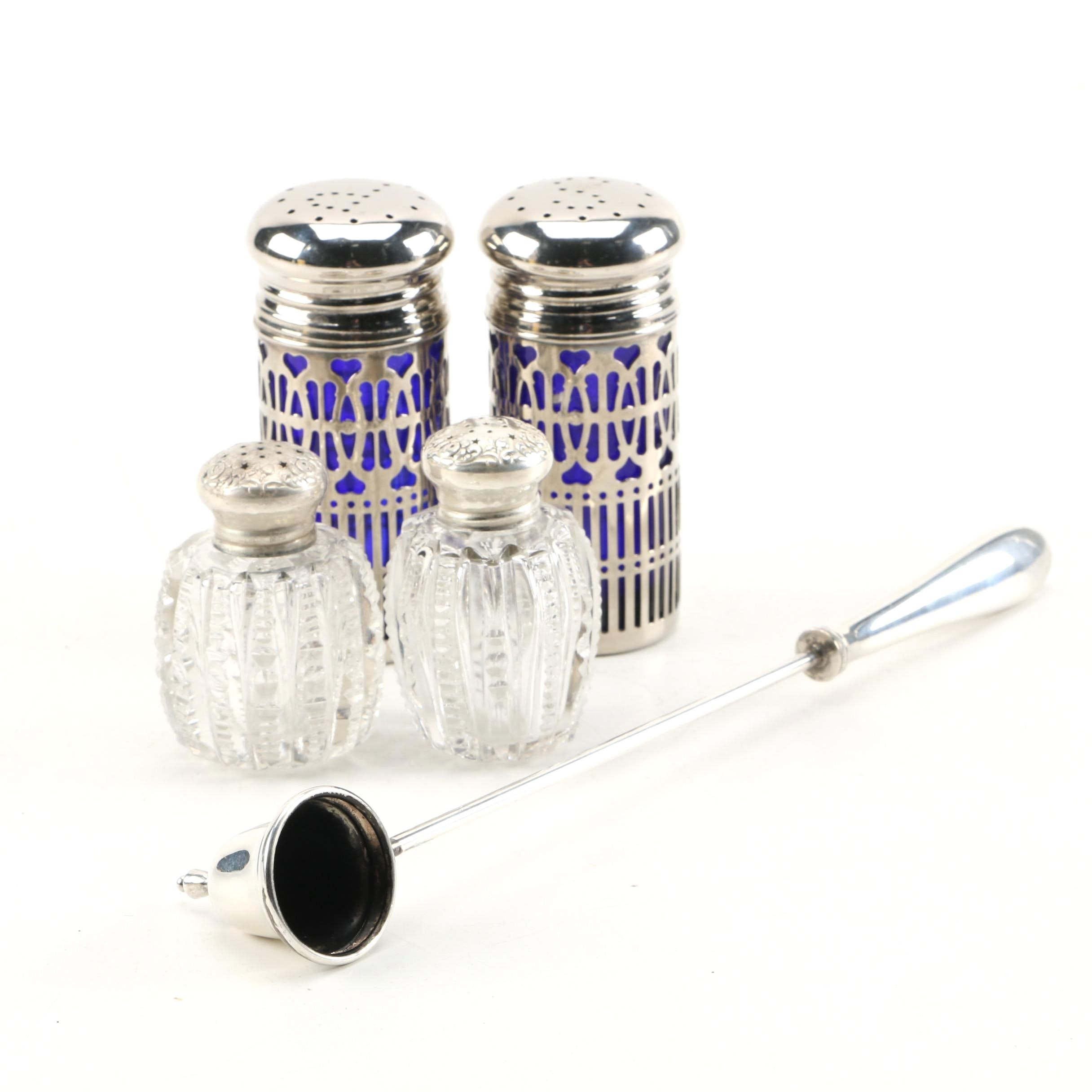 Sterling Candle Snuffer with Sterling and Glass Salt and Pepper Shaker Sets