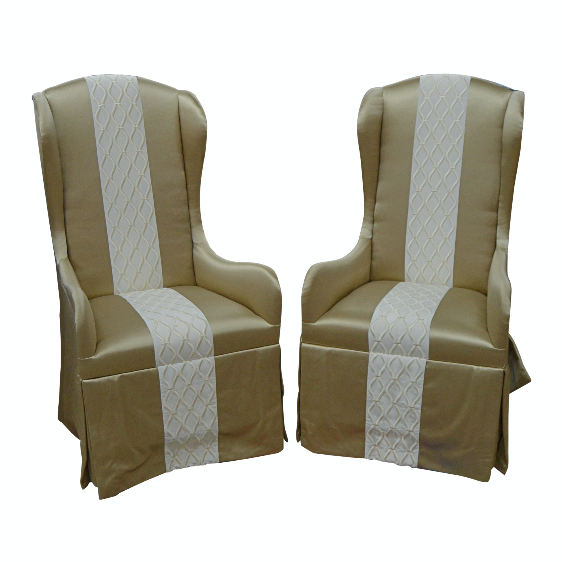 Pair of Skirted Wingback Armchairs by Century Furniture