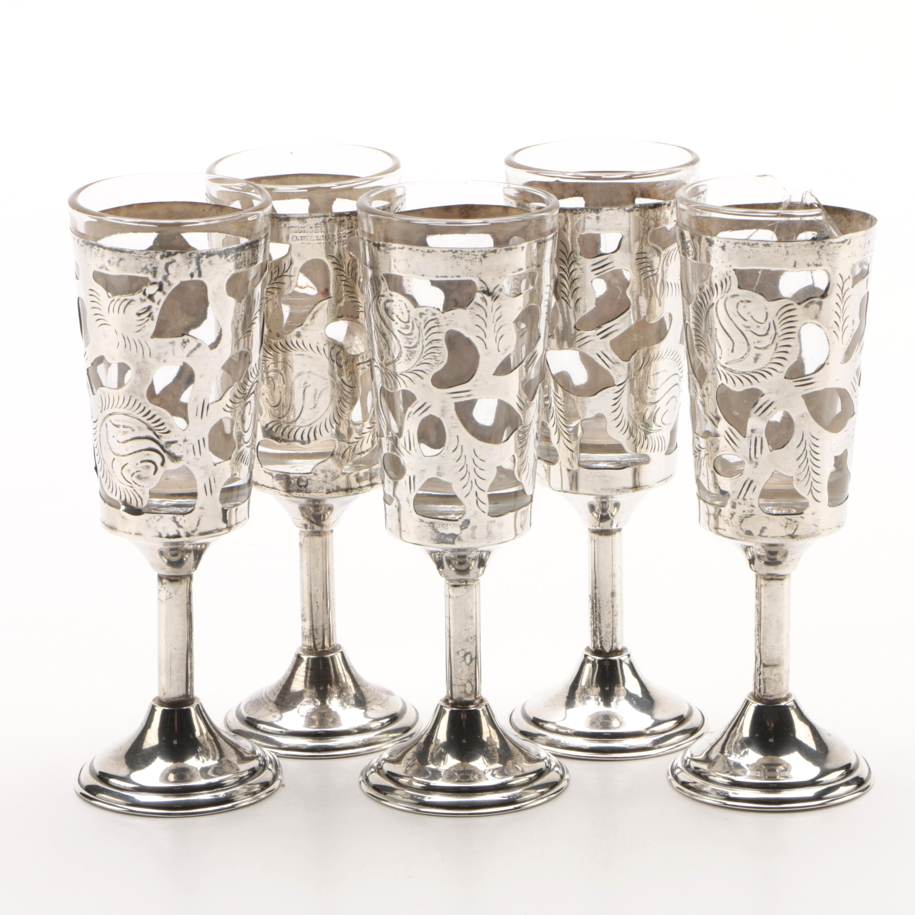 Vintage Mexican Sterling Silver Overlaid Cordial Glass Set