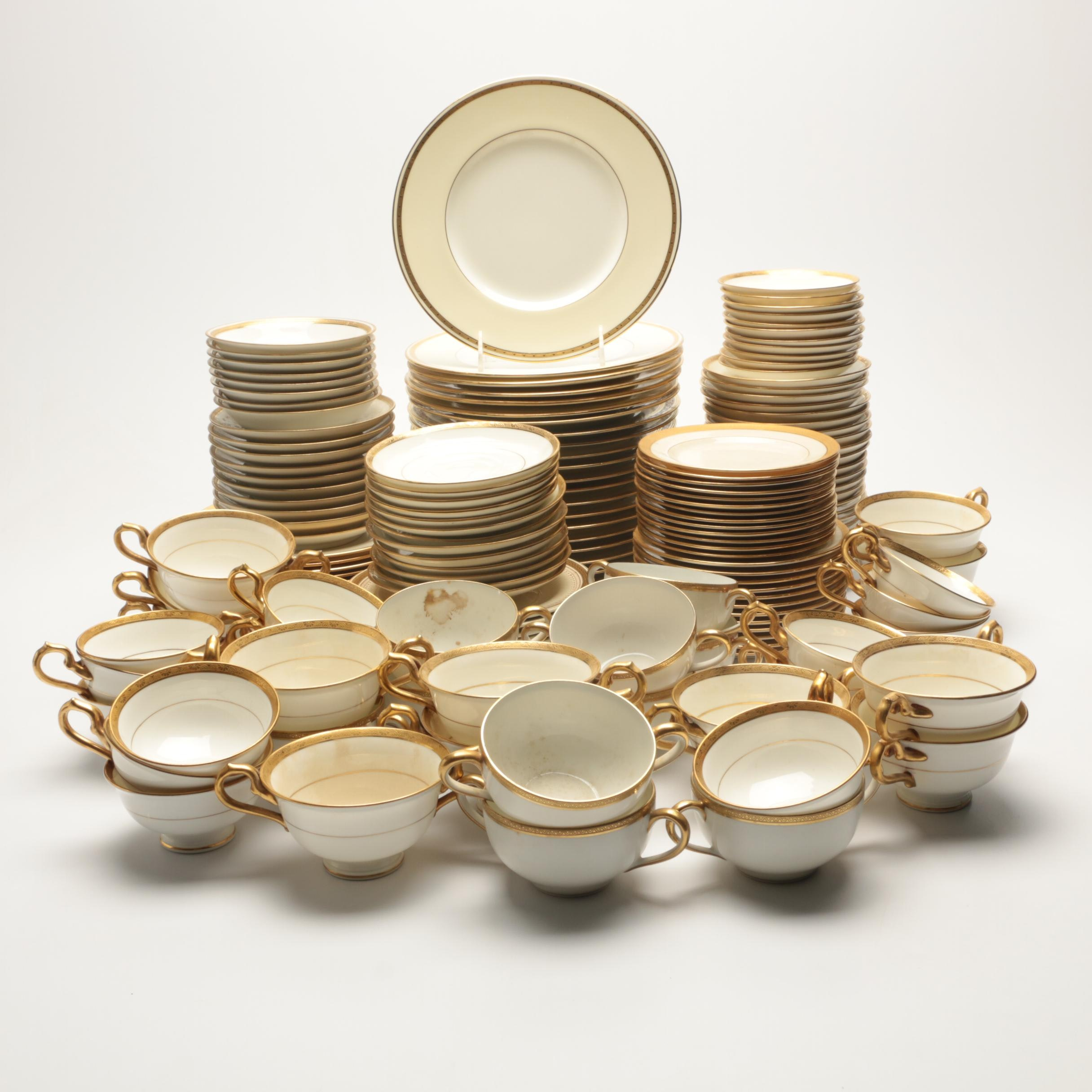 Mixed Gold and White Dinnerware Including Haviland, T&V Limoges, Minton and More