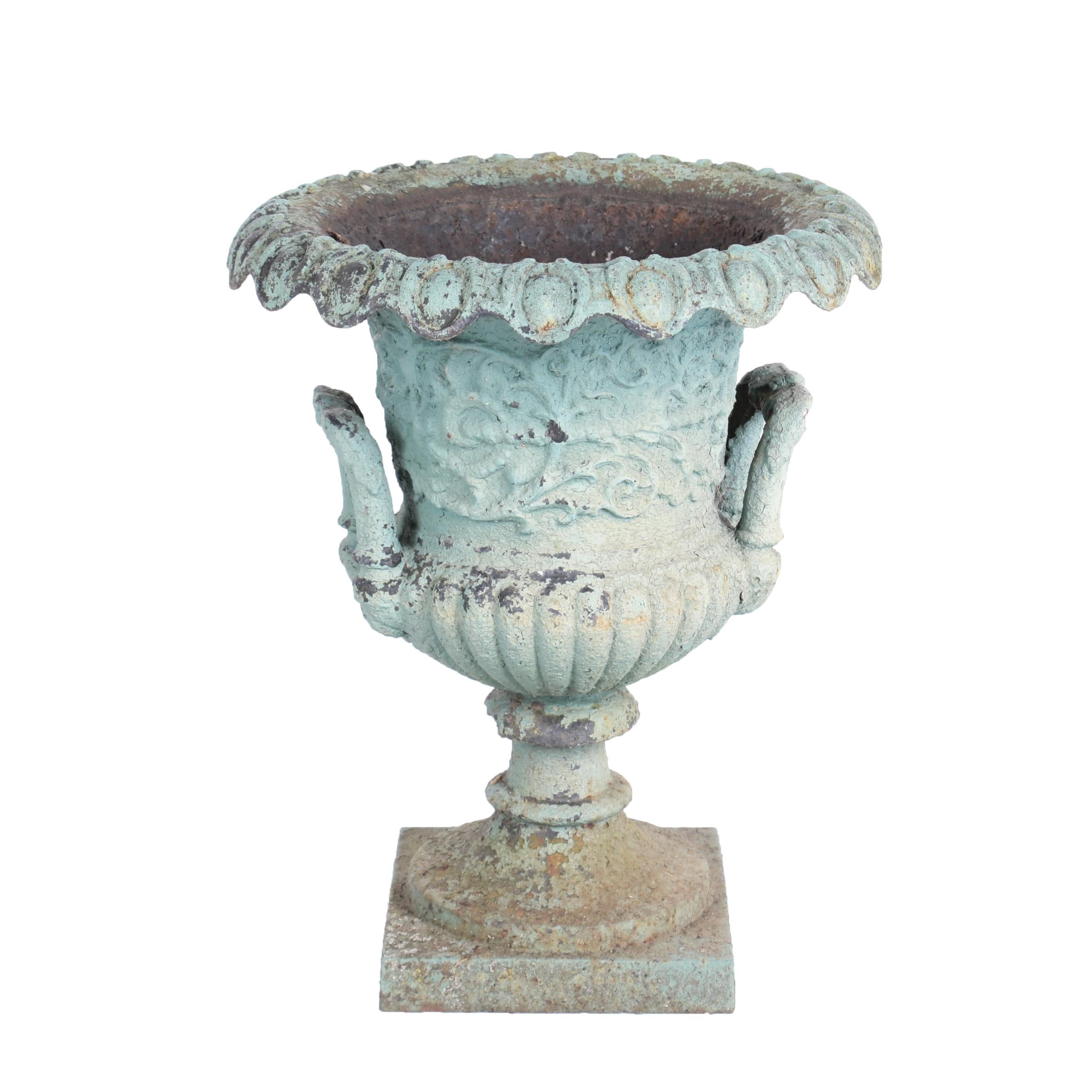 Genial Victorian Green Painted Cast Iron Garden Urn, Late 19th Century ...
