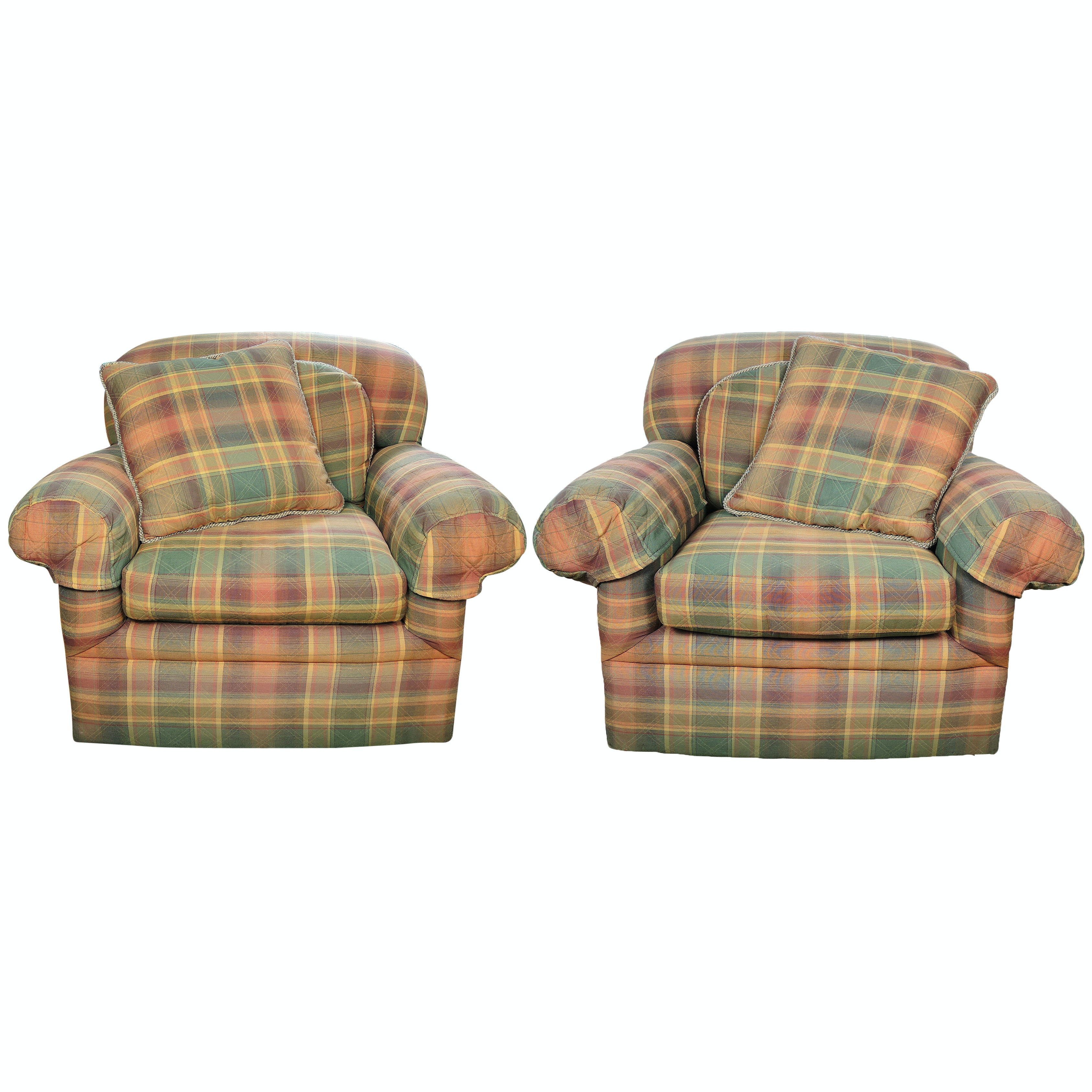 Plaid Upholstered Swivel Chairs By Century Furniture ...